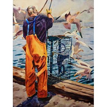 "Monhegan Sternman Hoisting Lobster Traps  watercolor on vintage Whattman 19"" x 24"""