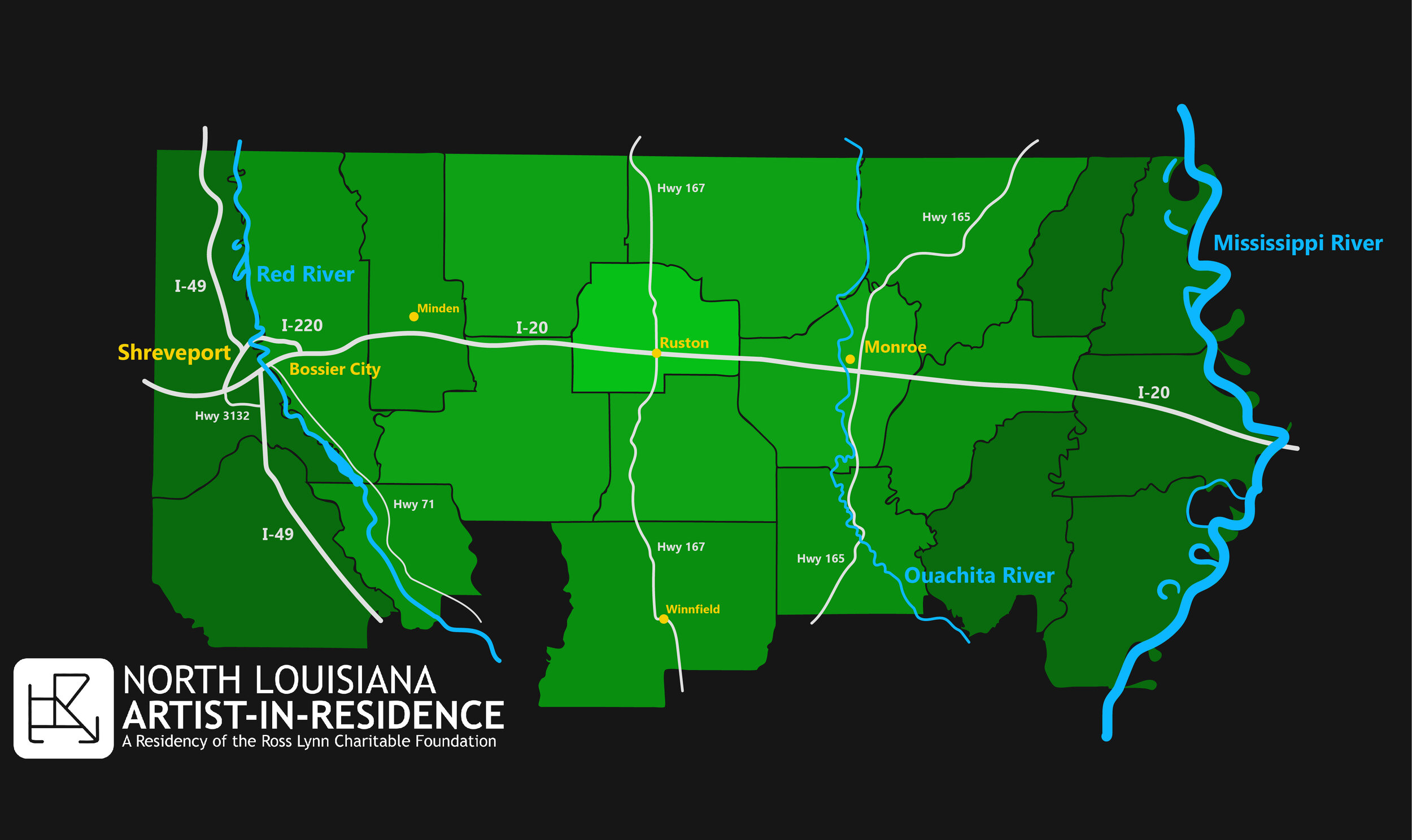North Louisiana with major cities, highways, and rivers.