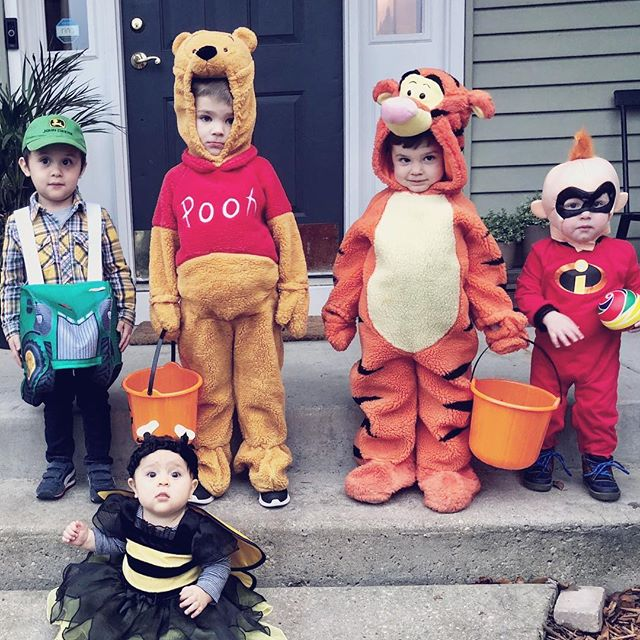 2nd Annual trick-or-treat. #johndeere #whinniethepooh #tigger #jackjack #bumblebee