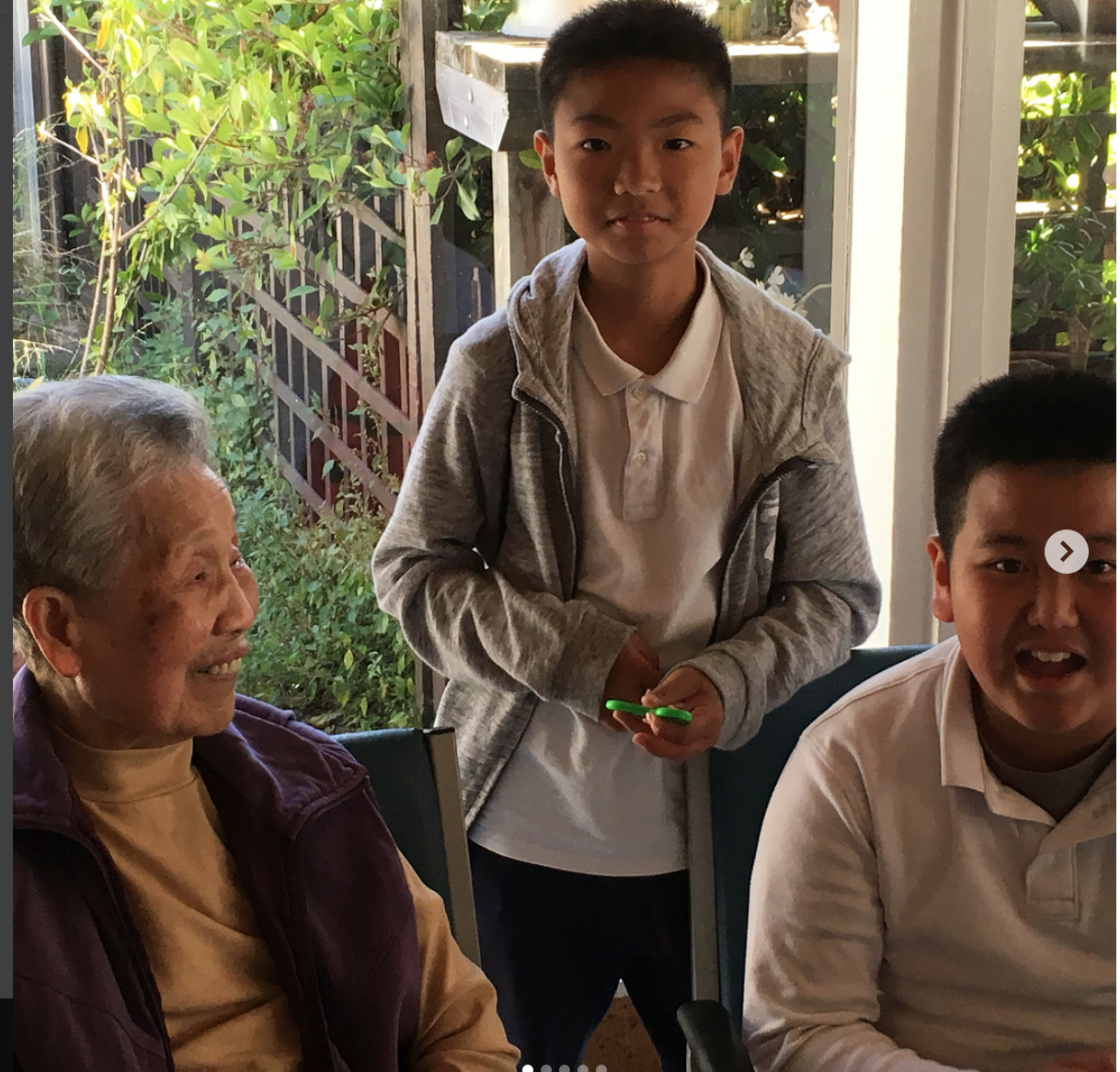 Moscone Elementary students spend time with senior citizens reading and playing games together and discussing the similarities and differences between their generations.