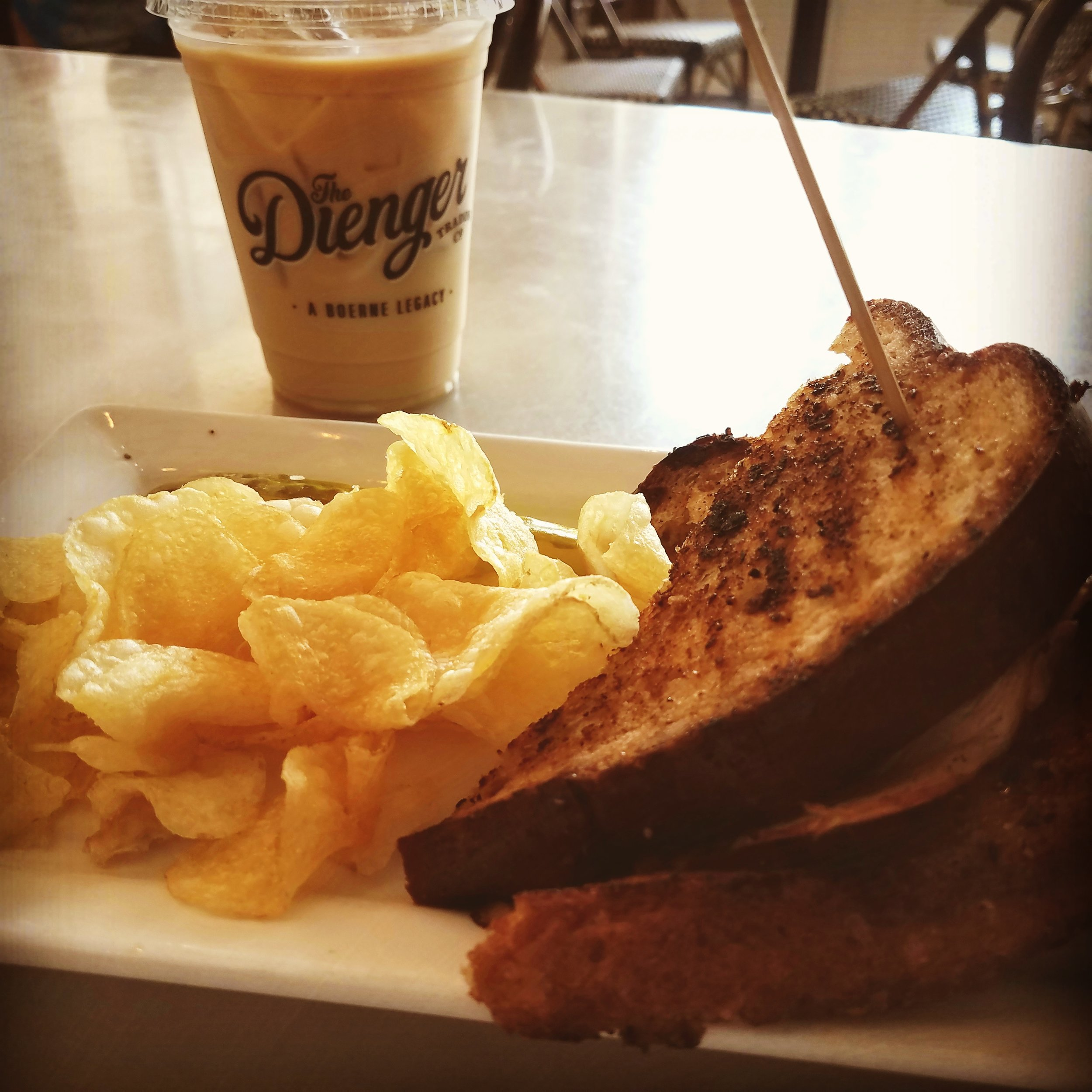Turkey melt with kettle chips and an iced coffee