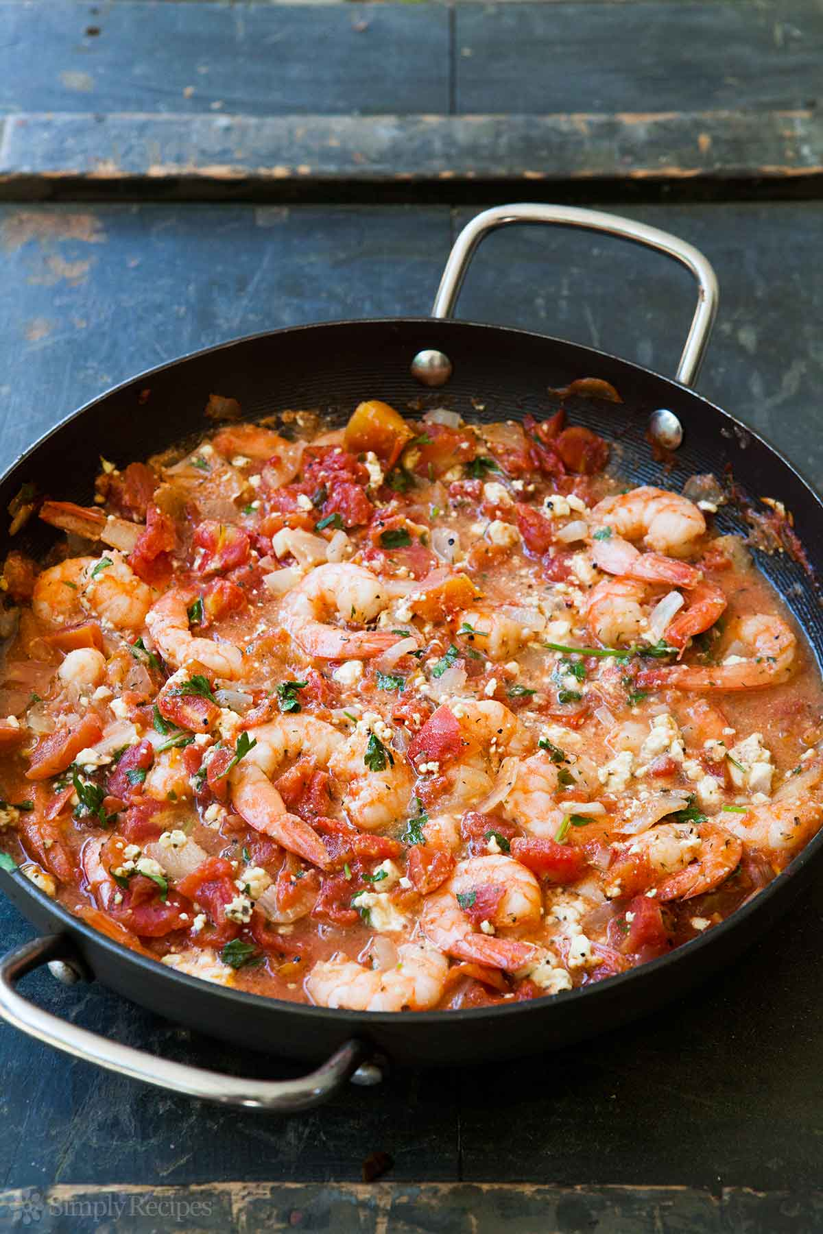 Baked Shrimp in Tomato Feta Sauce  from  Simply Recipes    Crusty French bread is a MUST with this dish!