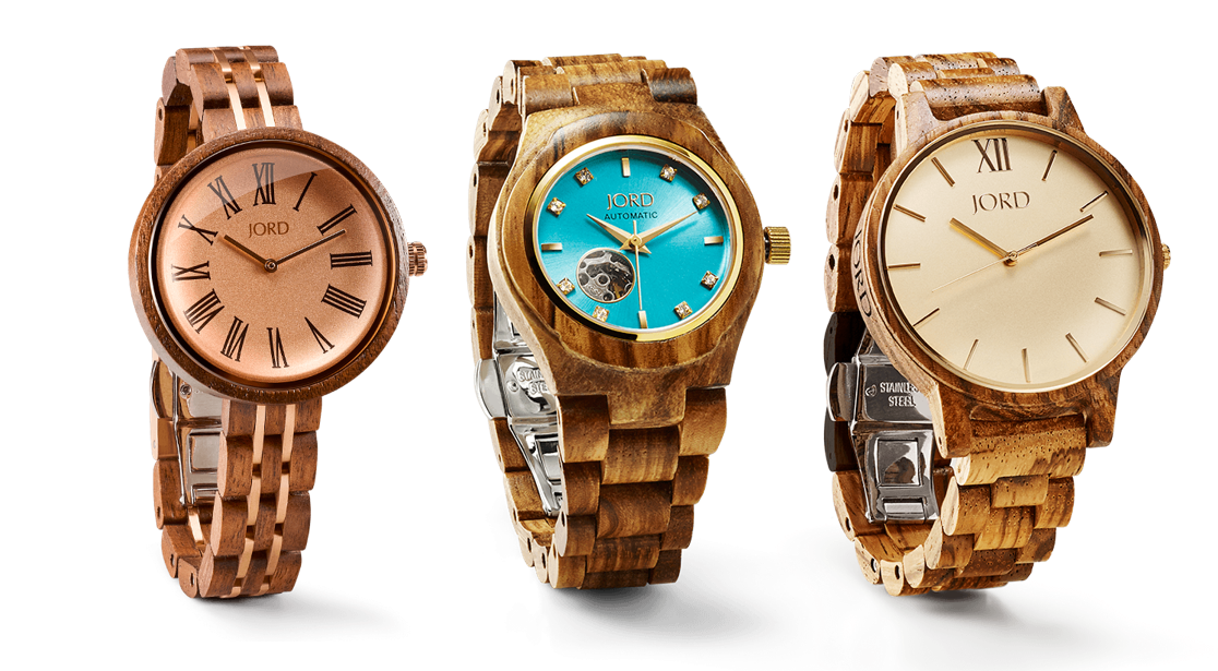 1) Cassia in walnut and vintage rose 2) Cora in zebrawood and turquoise 3) Frankie in zebrawood and champagne