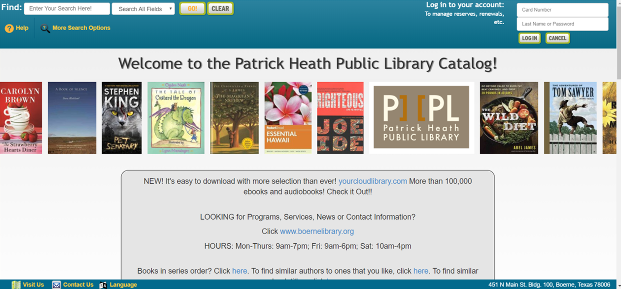 patrick heath public library - boerne texas - website - renew online - library services