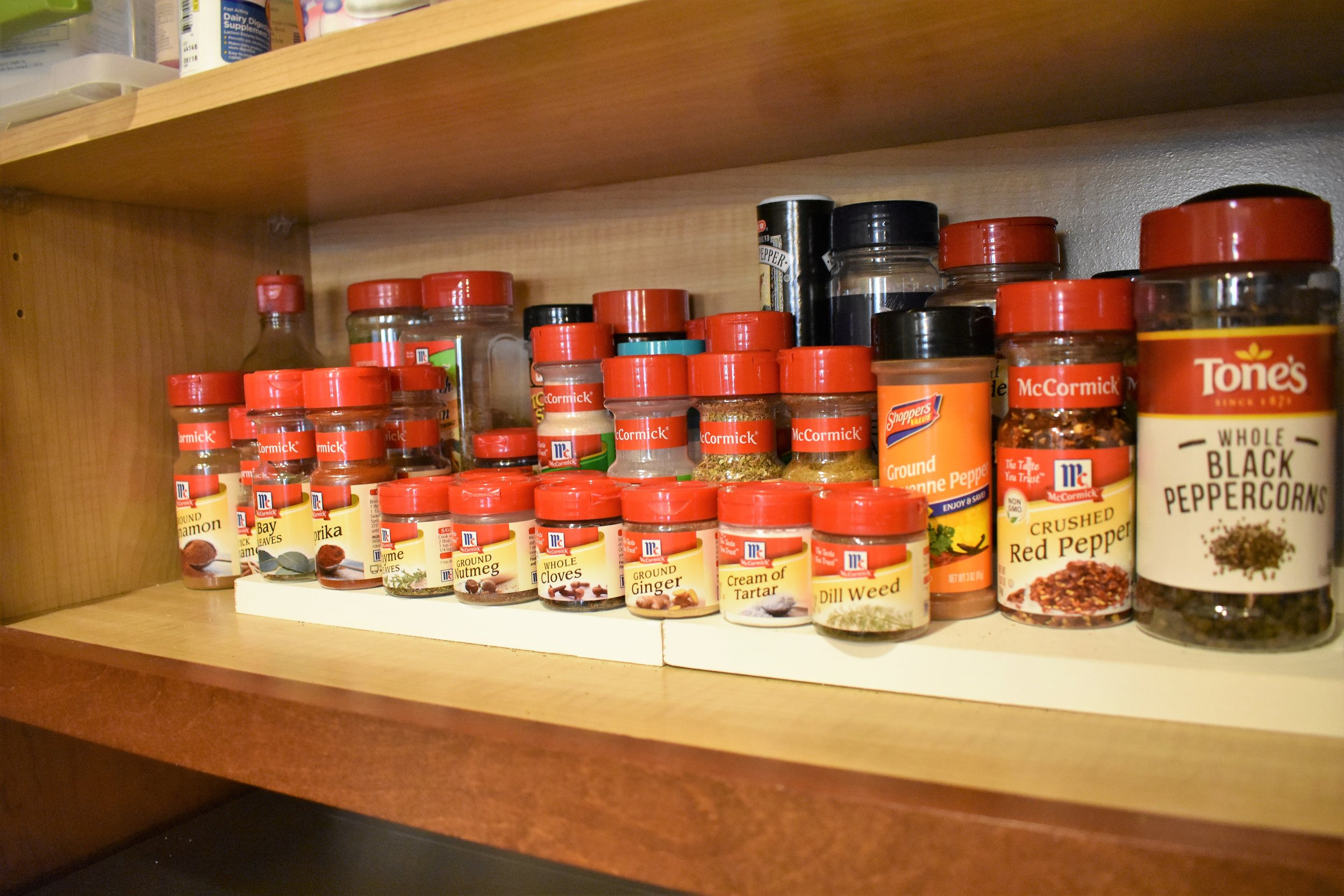 Tiered spice jar storage - kitchen storage and organization
