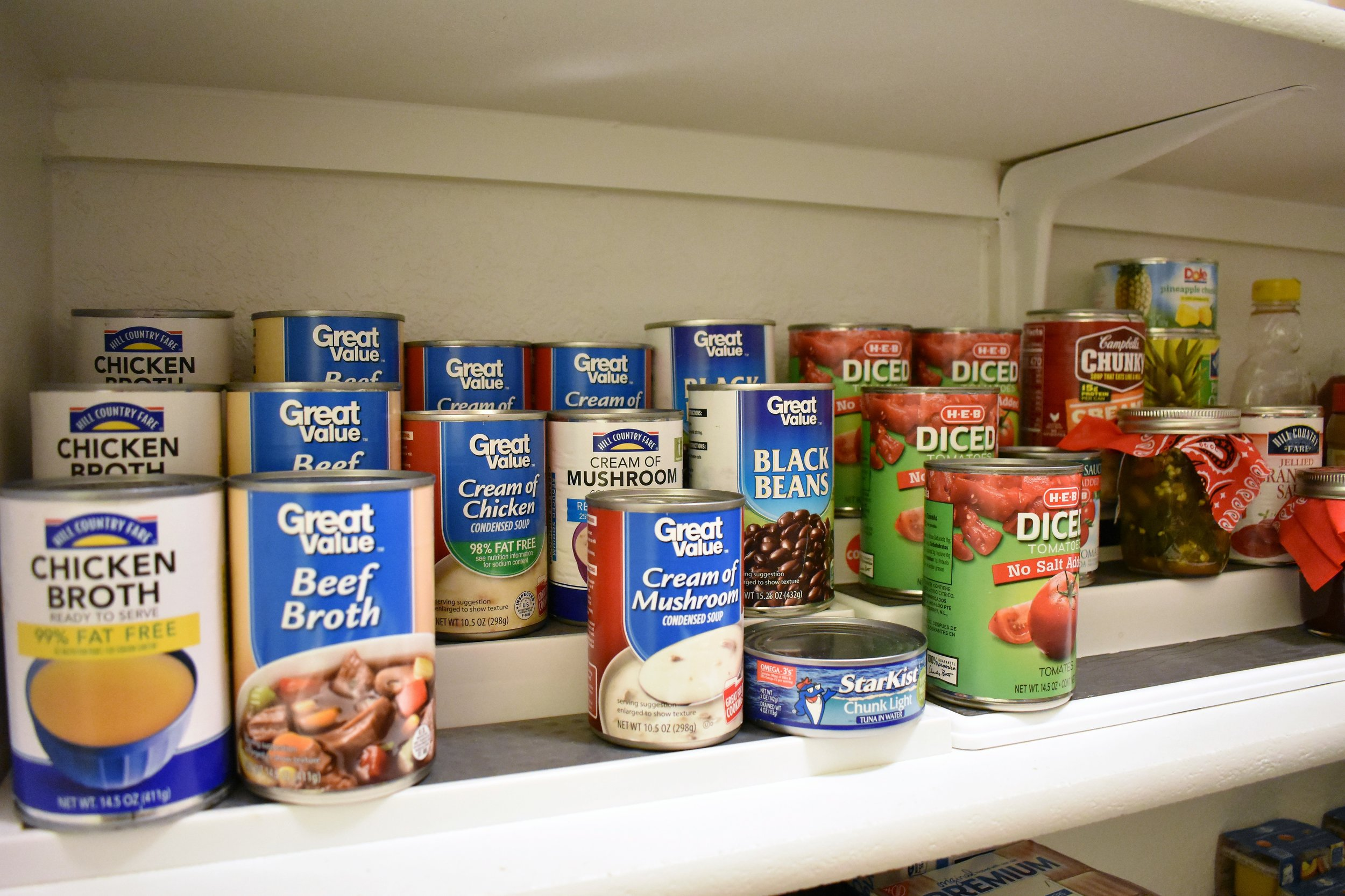 canned goods storage - pantry storage - kitchen storage and organization - tiered storage shelves