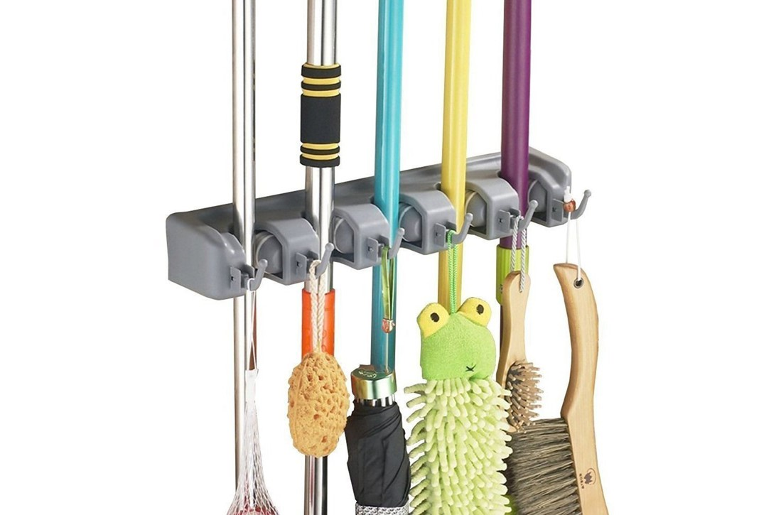 mops and brooms storage - kitchen laundry room storage and organization