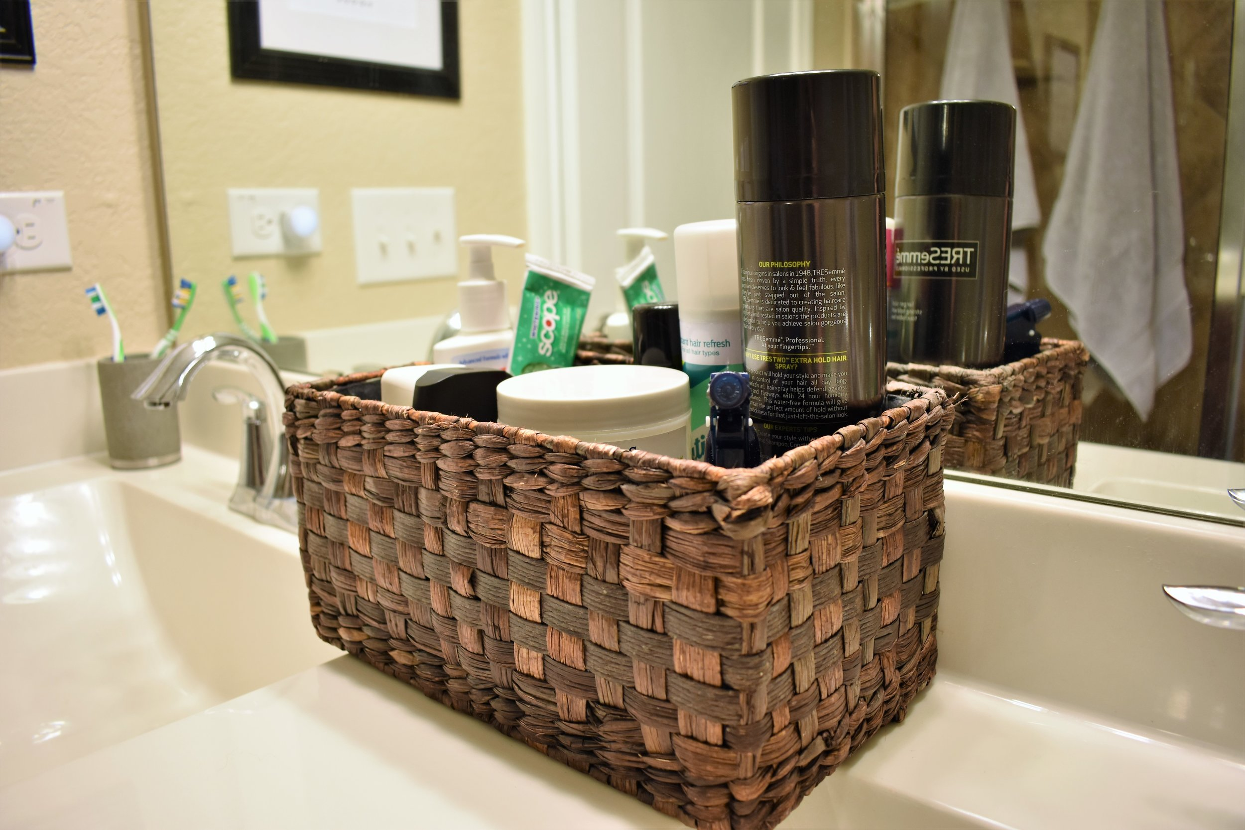 bathroom storage basket declutter countertops counter tops - bathroom storage and organization