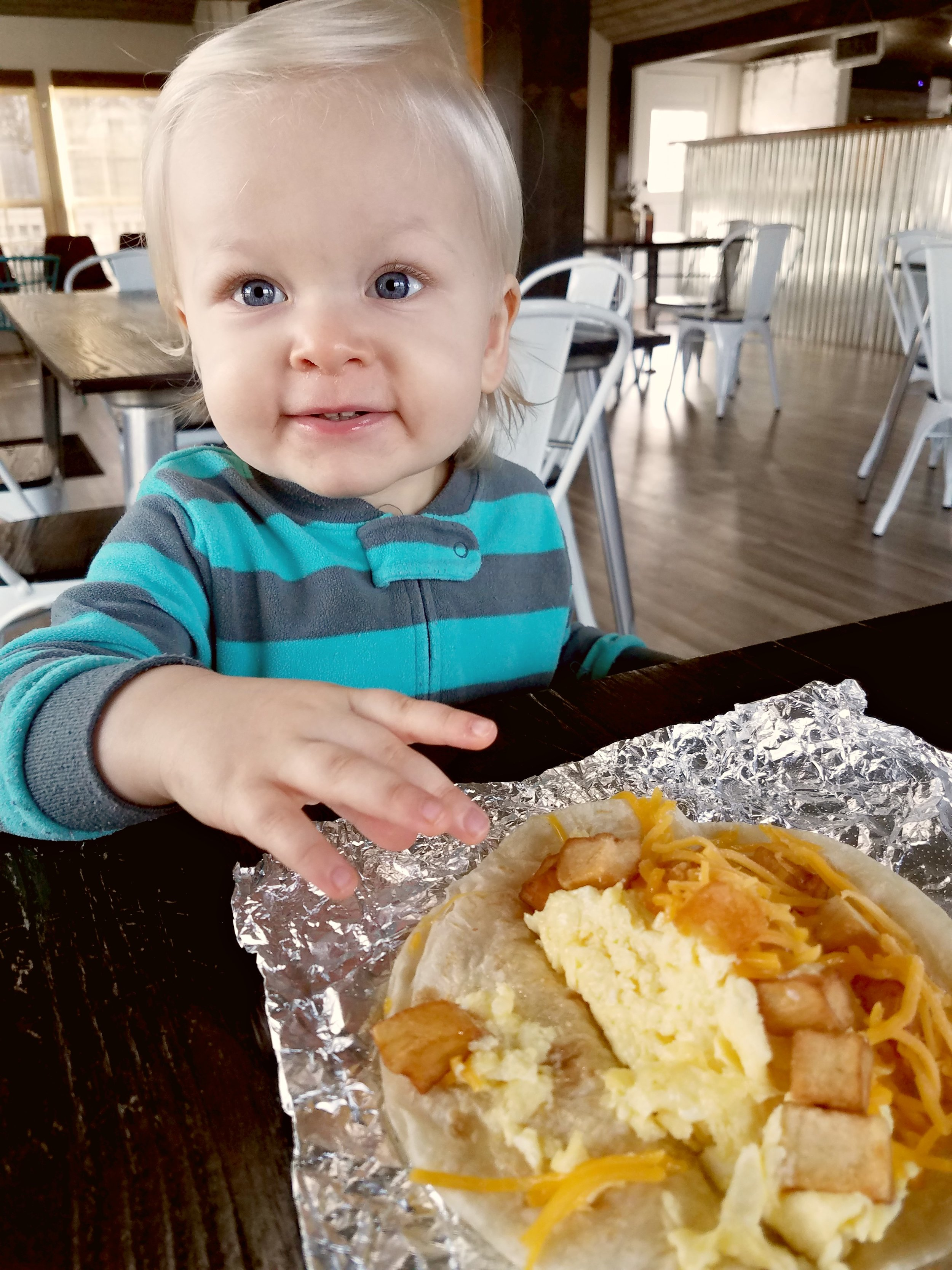 Even Baby loves Boerne Taco House!