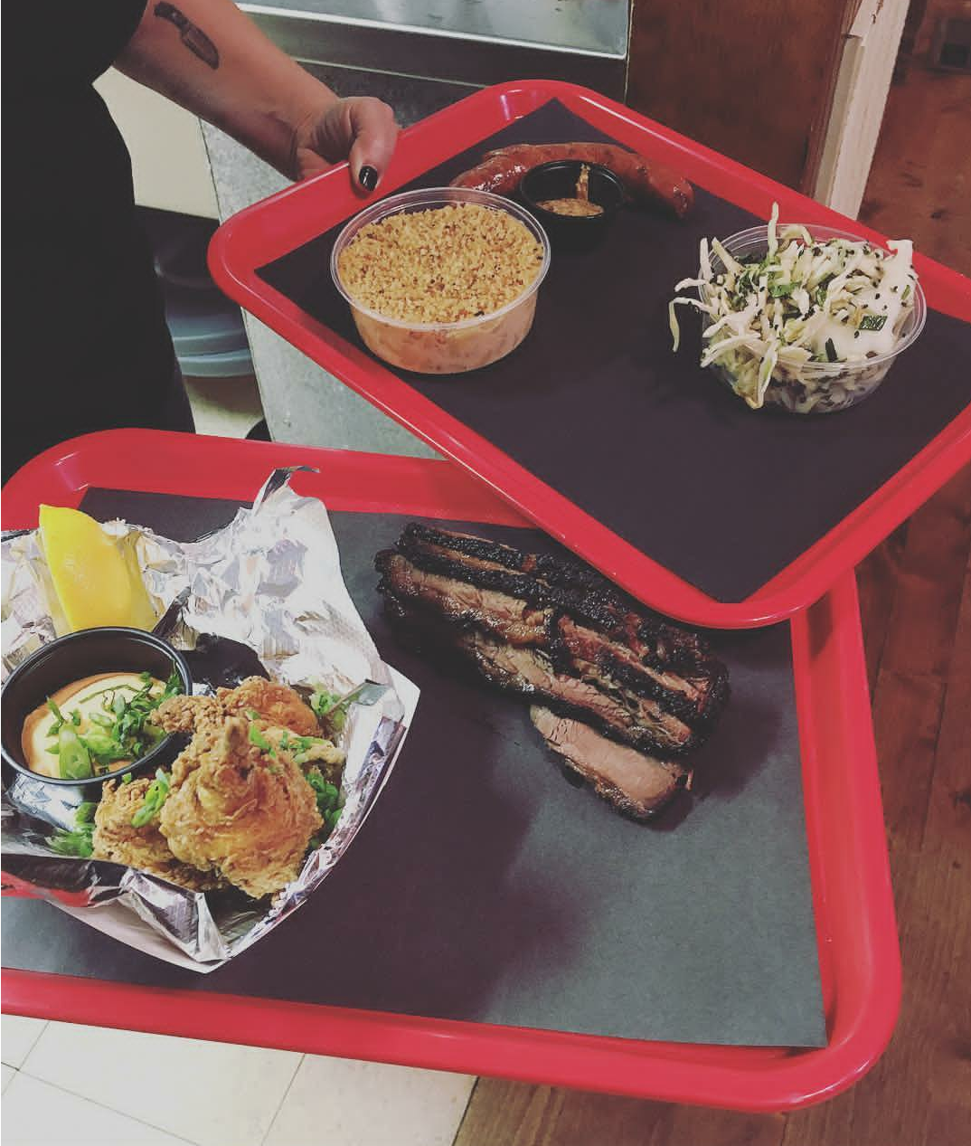 This photo is from Blackboar Bar B Q's Instagram feed, BUT...it actually was taken of OUR FOOD! Ha!