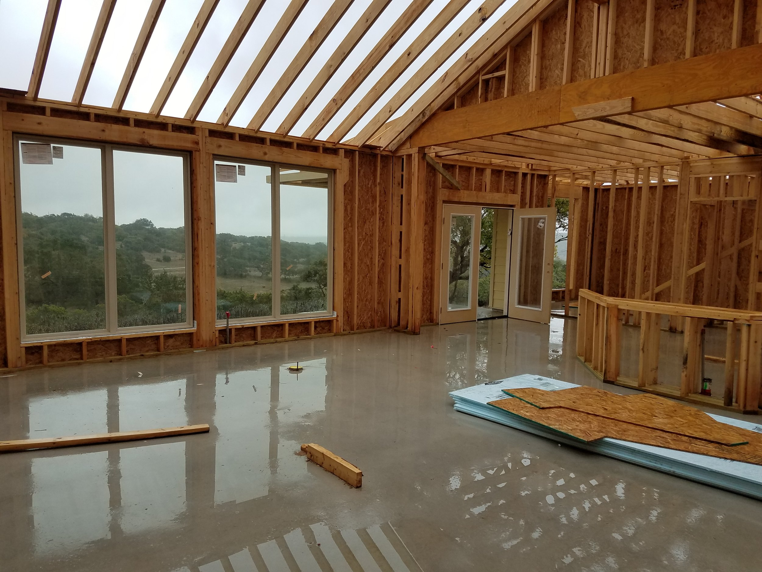 framing stage of home construction no roof