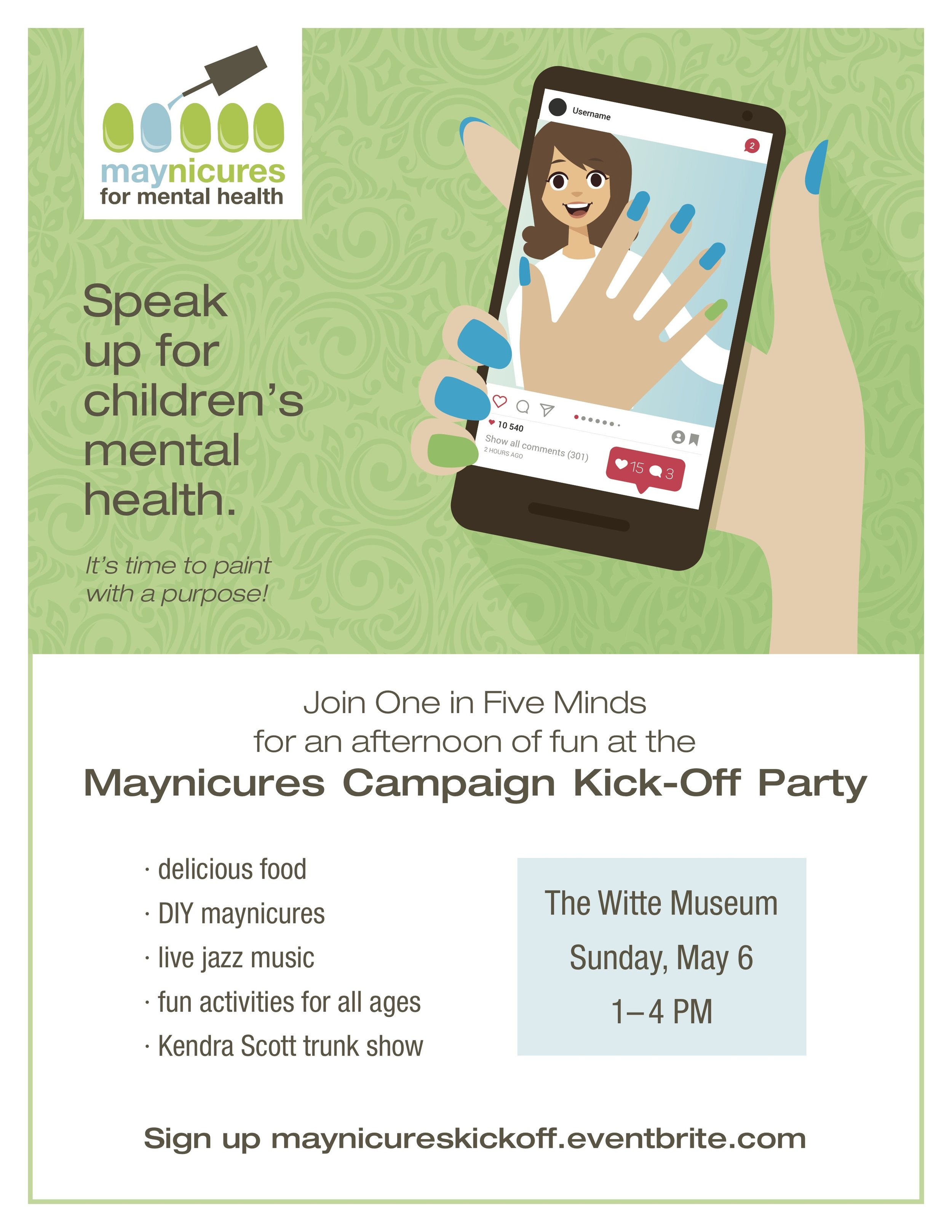 maynicures kickoff party one in five minds mental health awareness san antonio