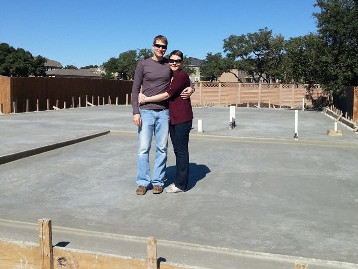 Standing on the foundation of our first Texas home, 2013.
