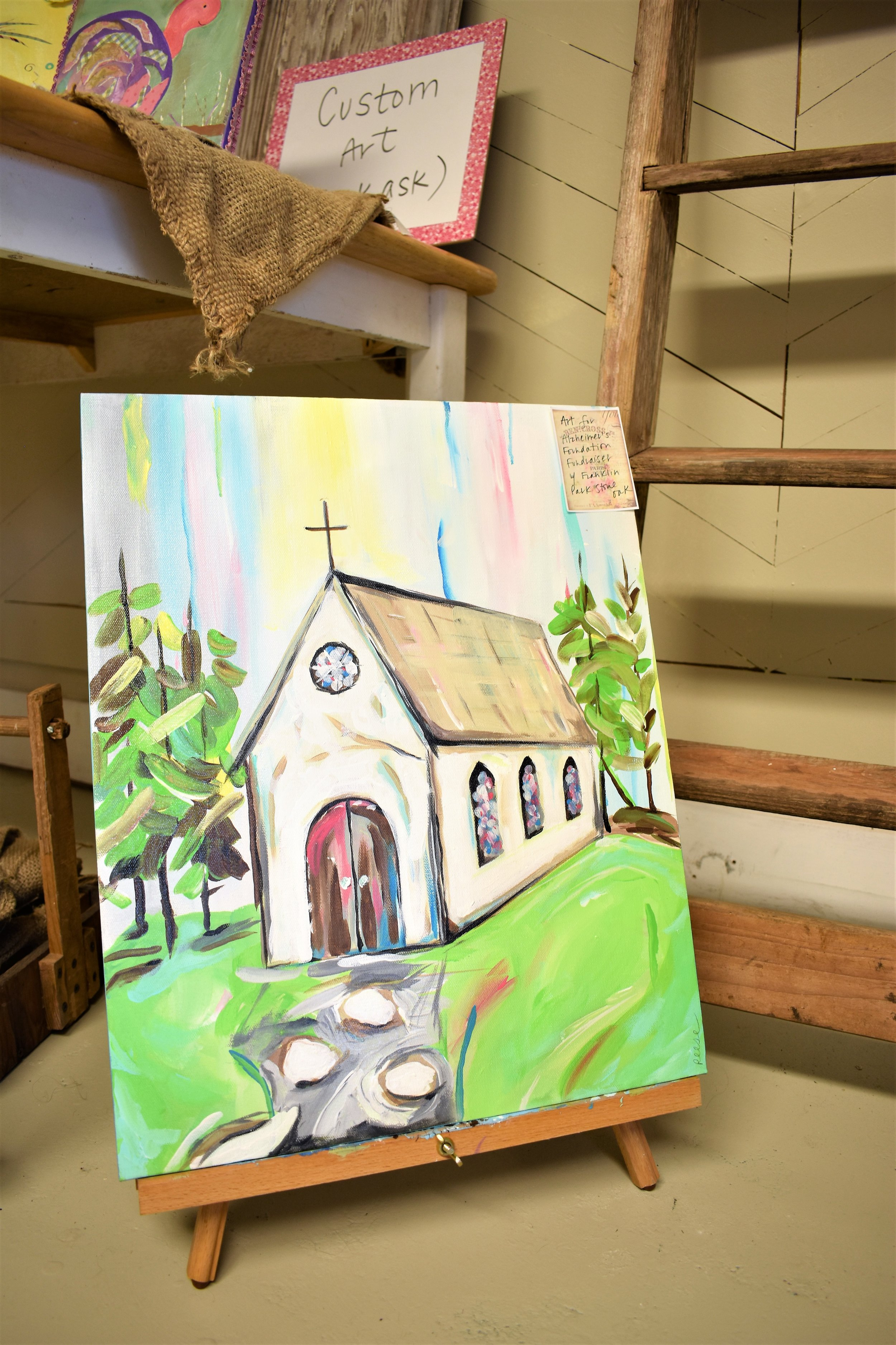 A fundraising piece, painted by Gina Reese, to benefit  Franklin Park Memory Care of Stone Oak , through the  Alzheimer's Association .