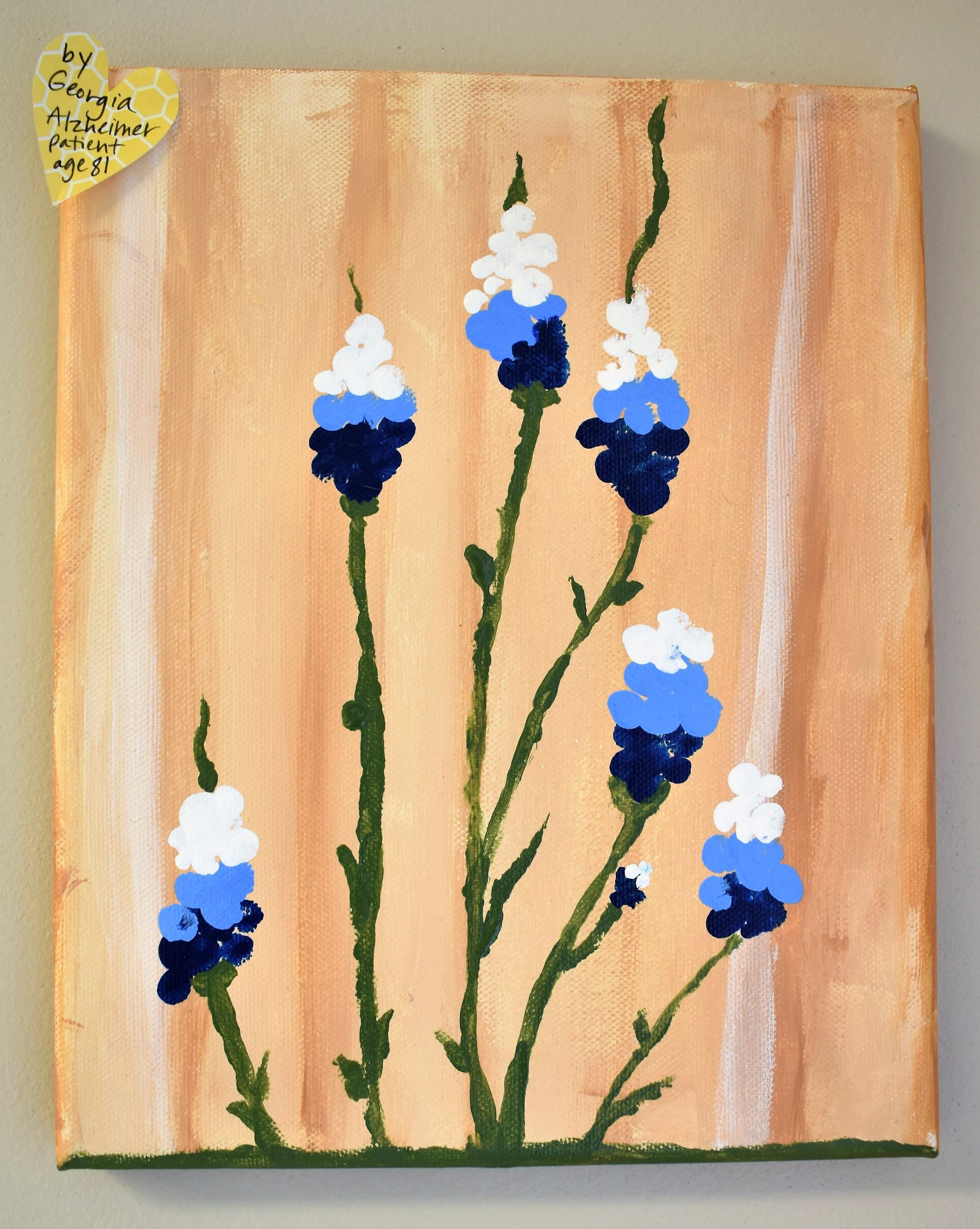 A piece of art painted by one of Gina's students, Georgia, an 81 year old Alzheimer's patient.