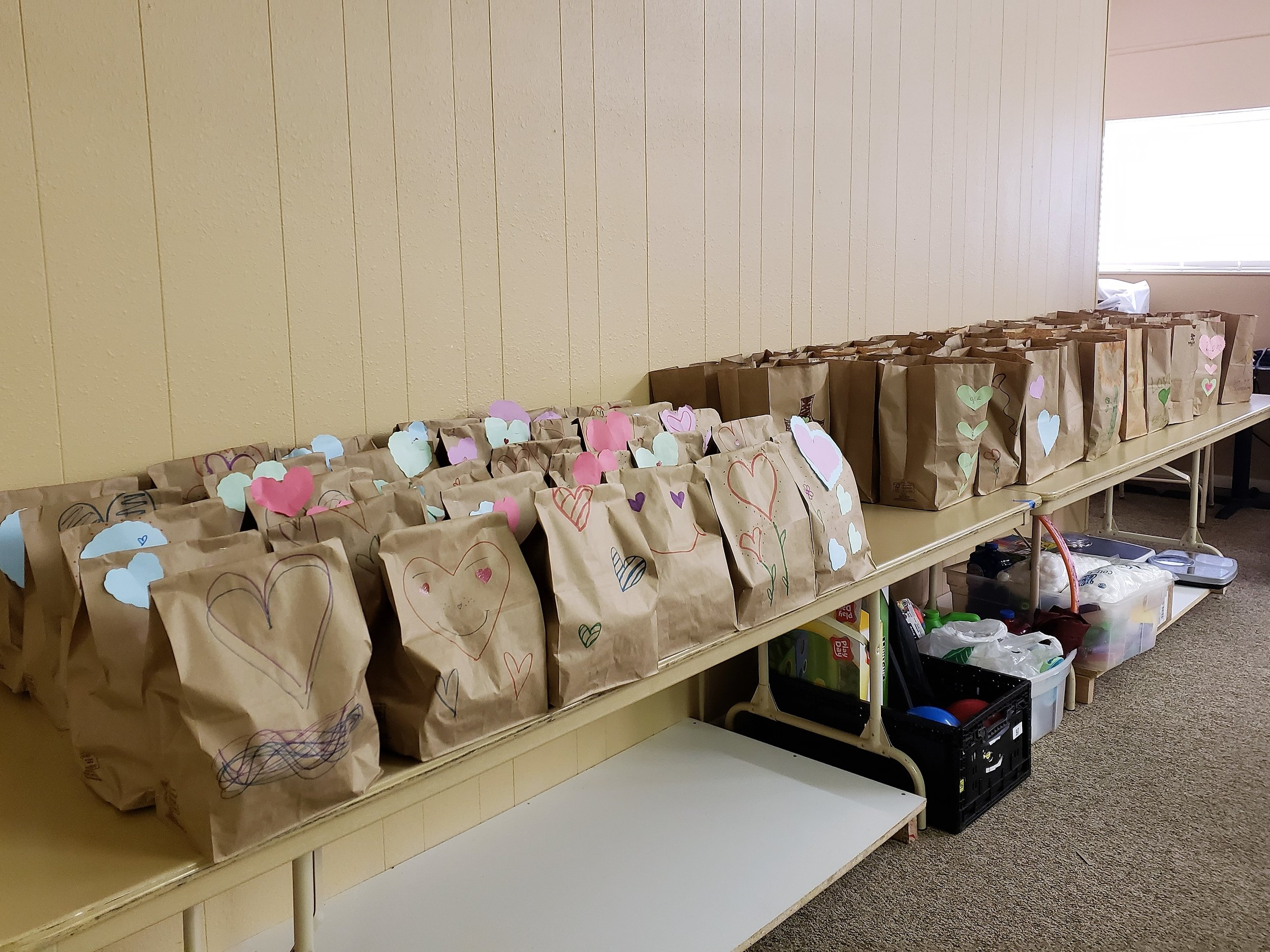 These were just the bags that were filled to hand out right away. There were  so many more  that were decorated to be filled at a later time!