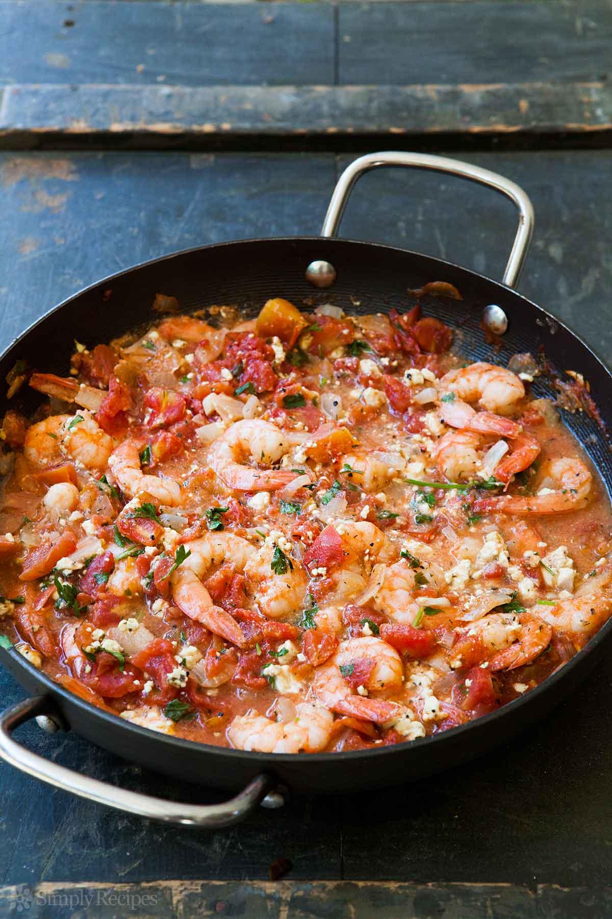 BAKED SHRIMP IN TOMATO FETA SAUCE LOW CARB DINNER RECIPE