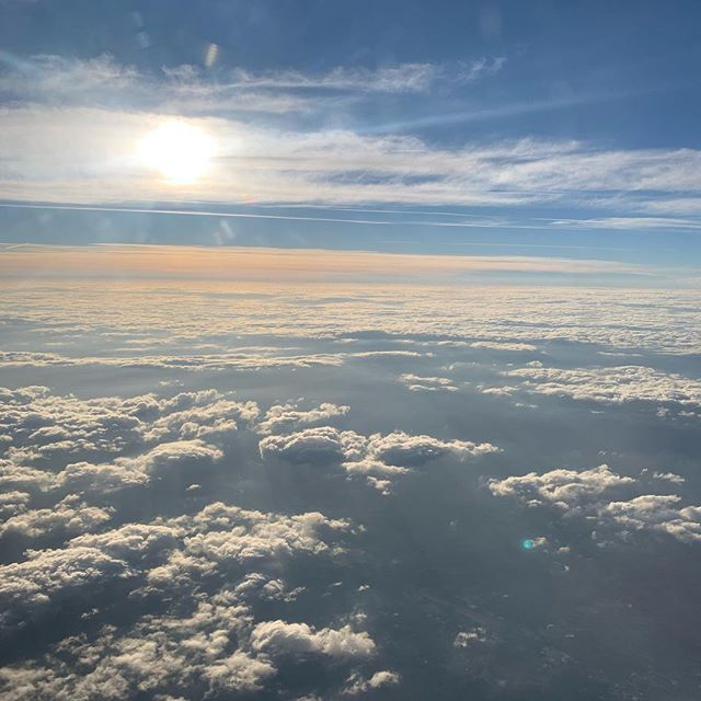High above the clouds... we've wrapped up a quick trip to PA for a fun retreat with some pretty incredible people. . . . . Seems like I'm spending a lot of time up in the air or on the road lately. I LOVE to travel and I am SO grateful for the ability to do it with my family and to do it often. . . . Before I know it, @kesteppe and I will be off to Nepal (in four days) and the landscape below me will be new, different, unknown. I cannot wait!!! . . . Tell me, where is your favorite place to visit?