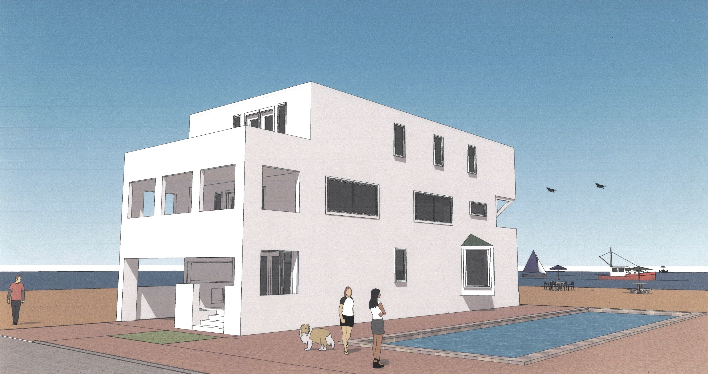 Rendering of a shore house in Longport, New Jersey