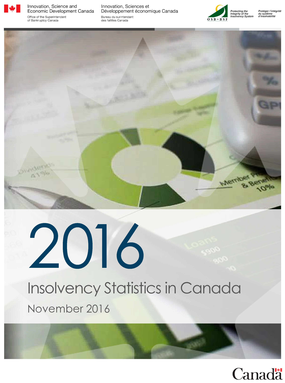 November 2016 Personal Bankruptcy & Consumer Proposal Statistics