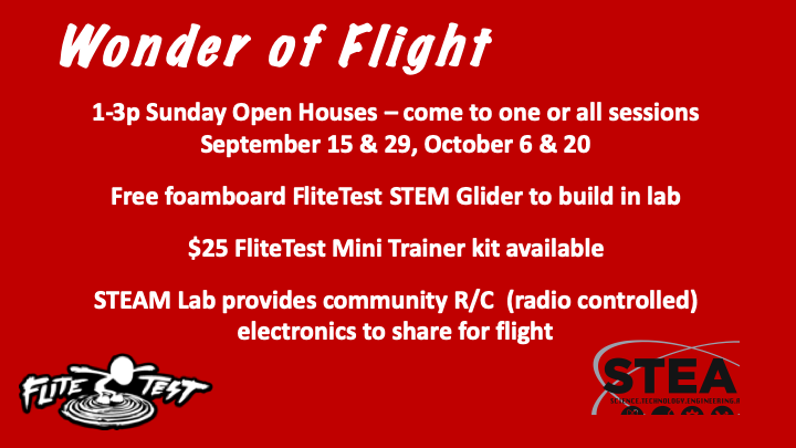 Watch the videos below to learn about flight and see what kind of projects we will be doing at the open house summer sessions. We look forward to seeing you. If you have questions, please email  info@communitycenter.life