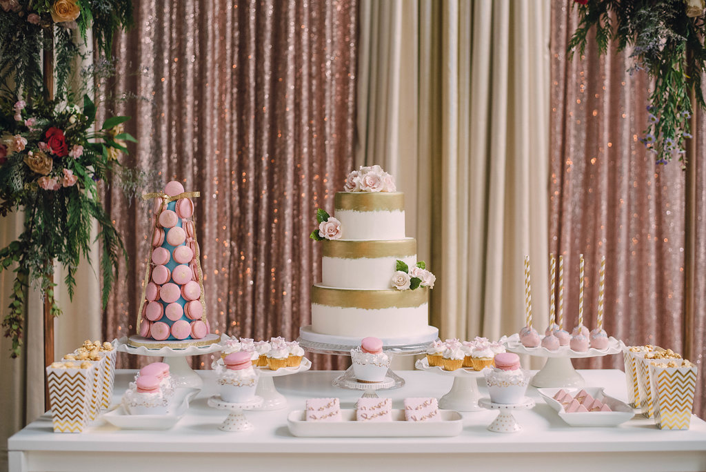 Blush sweets table