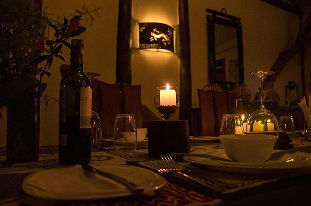 Crackling fire and candle lit dinner with a bottle of Chilean red. What a great end to a days' safari 👌🏼