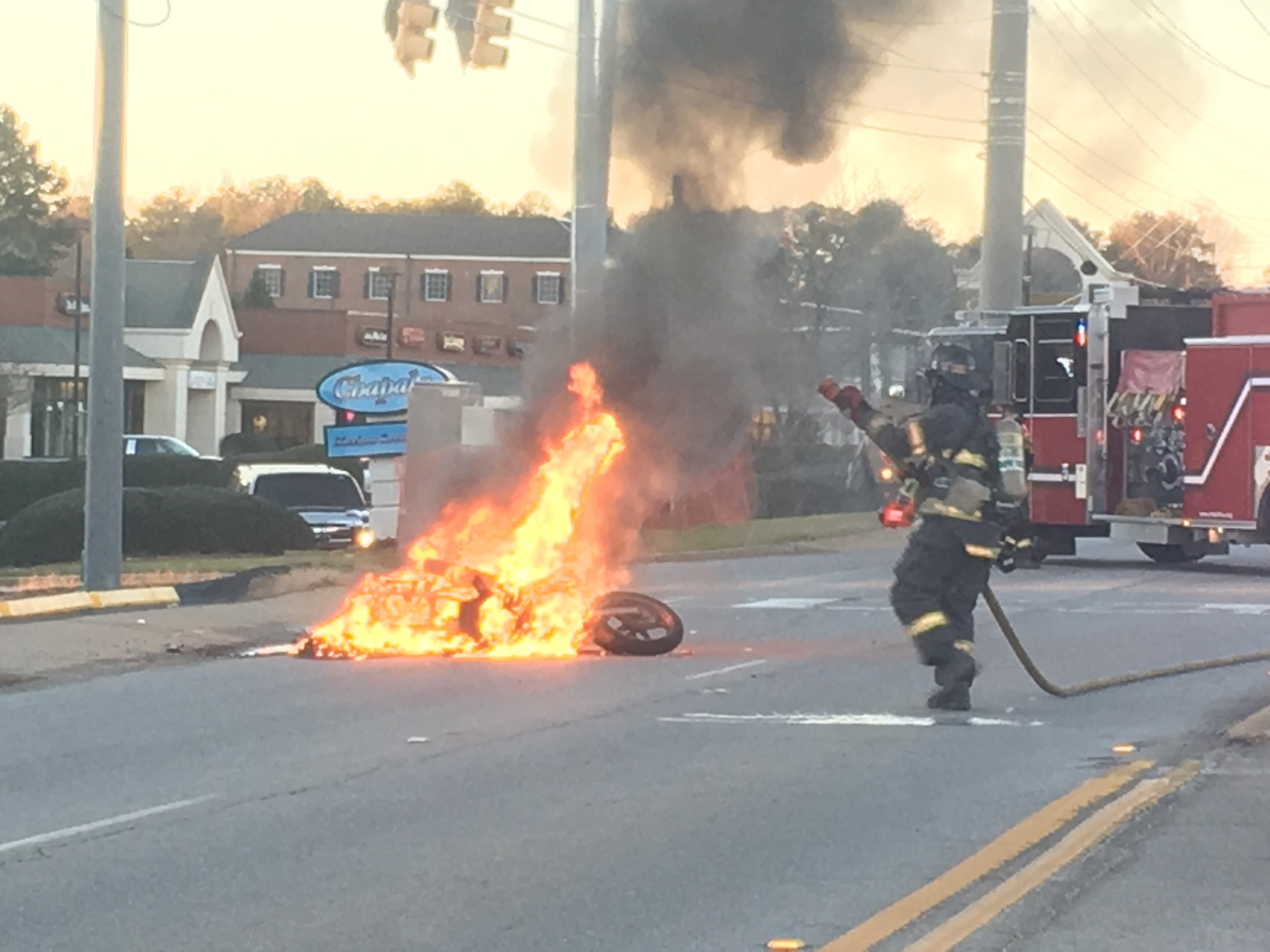 Engine 171 on a motorcycle accident/fire.