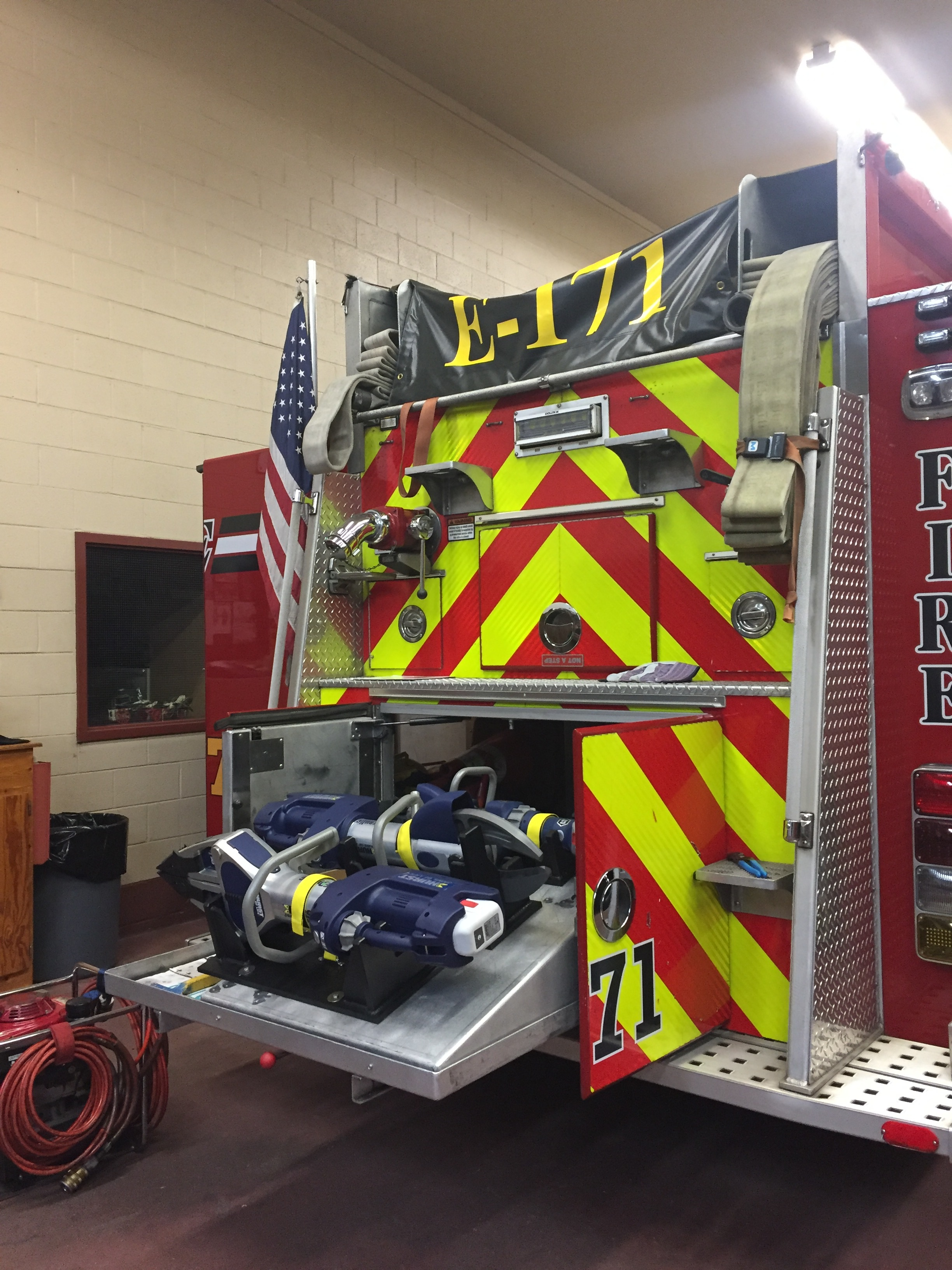 Some of the extrication equipment that Engine 171 carries.