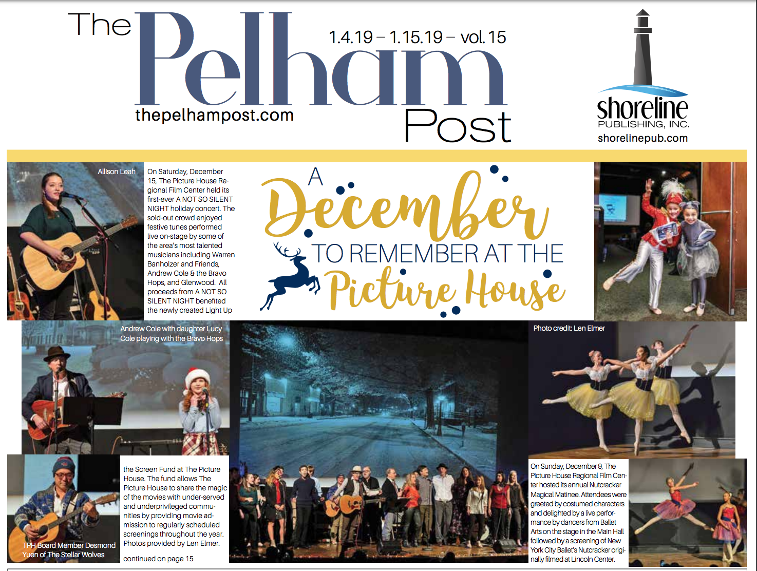 """- This article, published by the Pelham Post, is a review of """"A Not So Silent Night"""": A special event that Allison was featured in during the 2018 holiday season."""