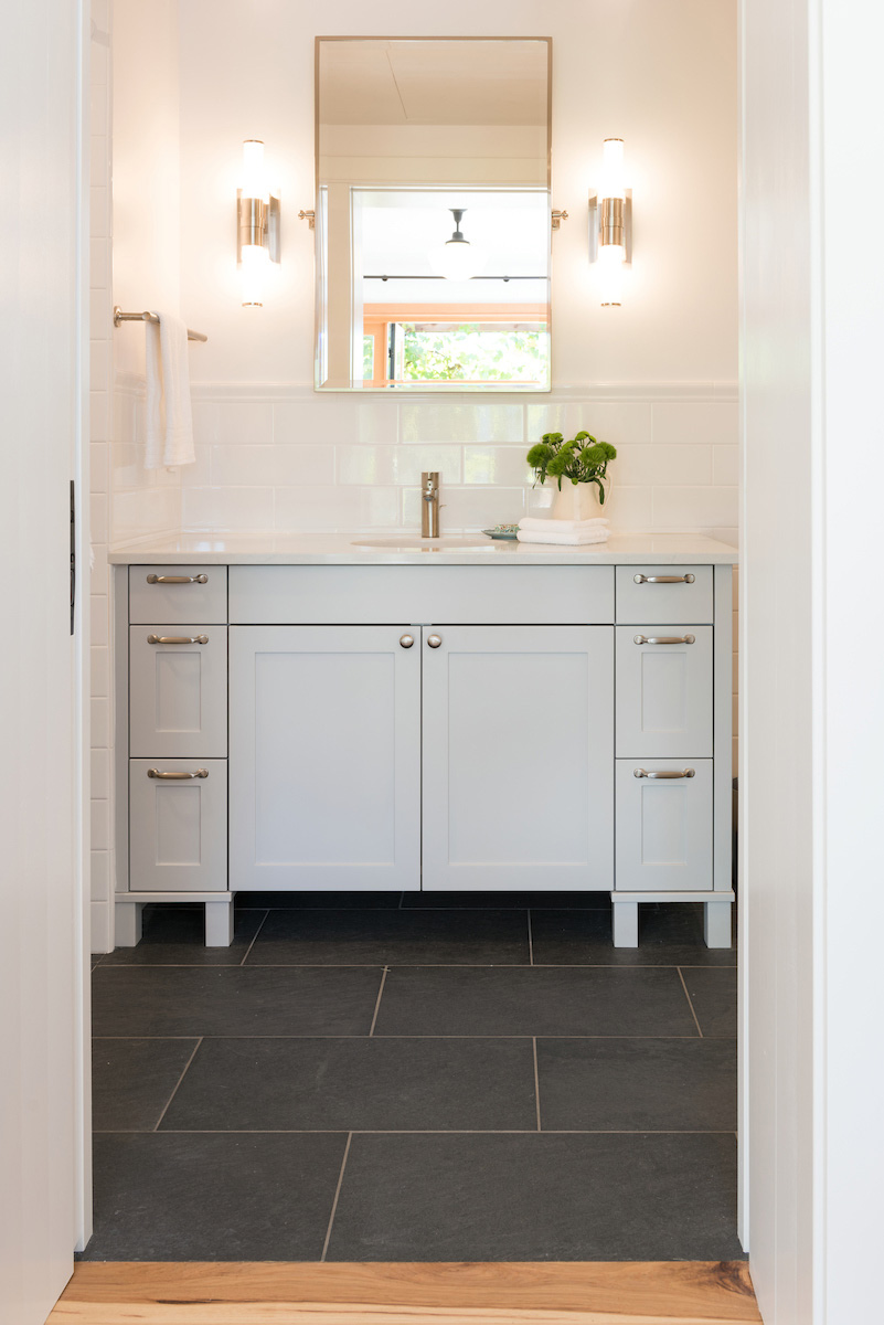 Here is an example of a simple change we made to render a bathroom vanity usable by family members of all ages.