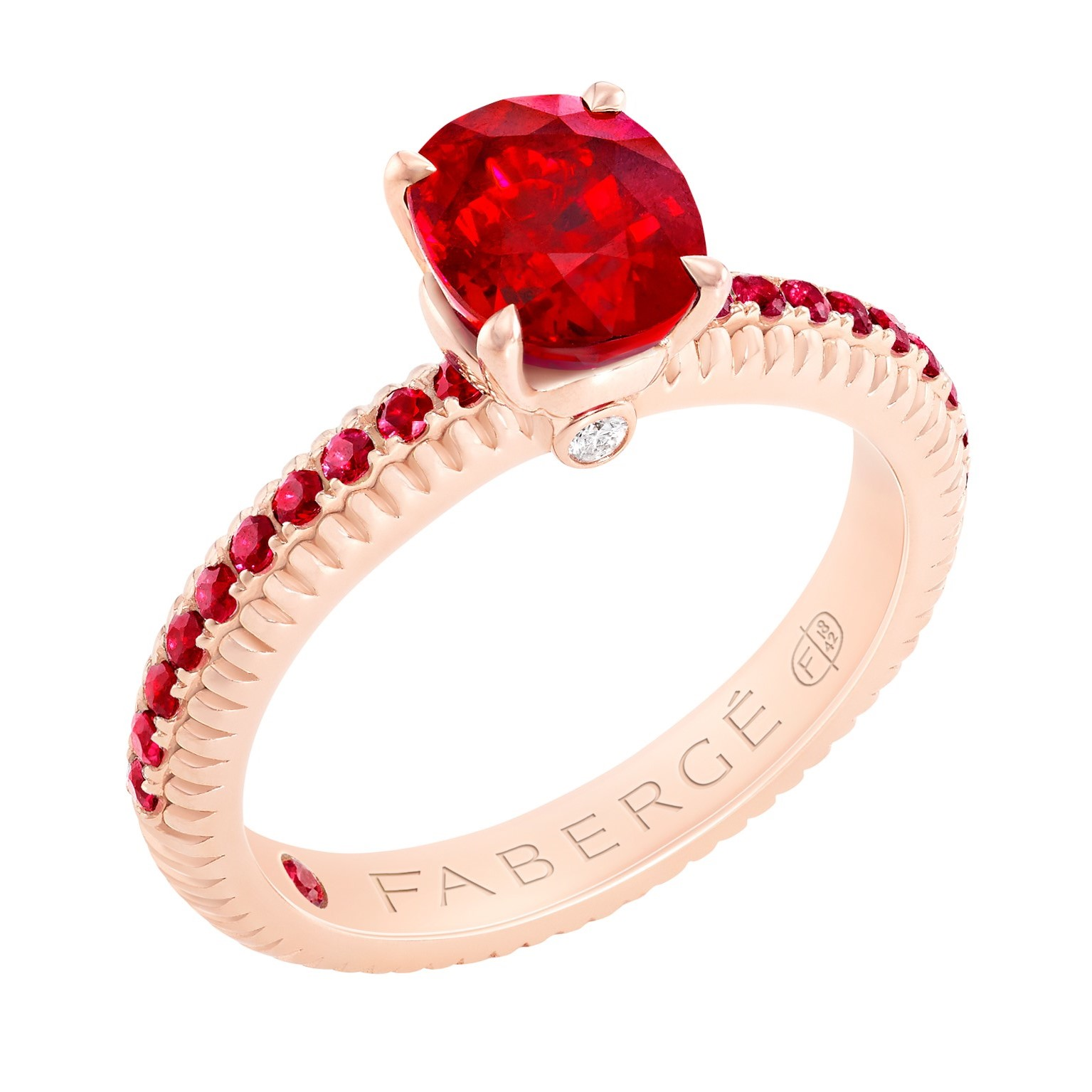 Fabergé Ruby with Ruby Pavé Rose Gold Fluted Ring.jpg