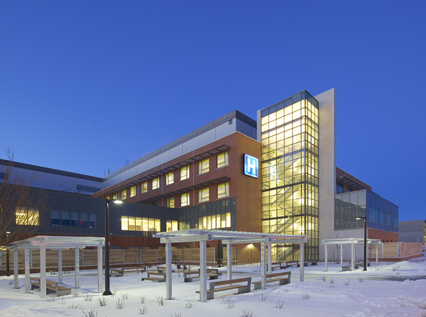 Markham Stouffville Hospital, Markham   The project involved an addition to the south and west of the existing building that doubled the size of the Markham Stouffville Hospital. (click for more)   Photos Courtesy of B+H Architects