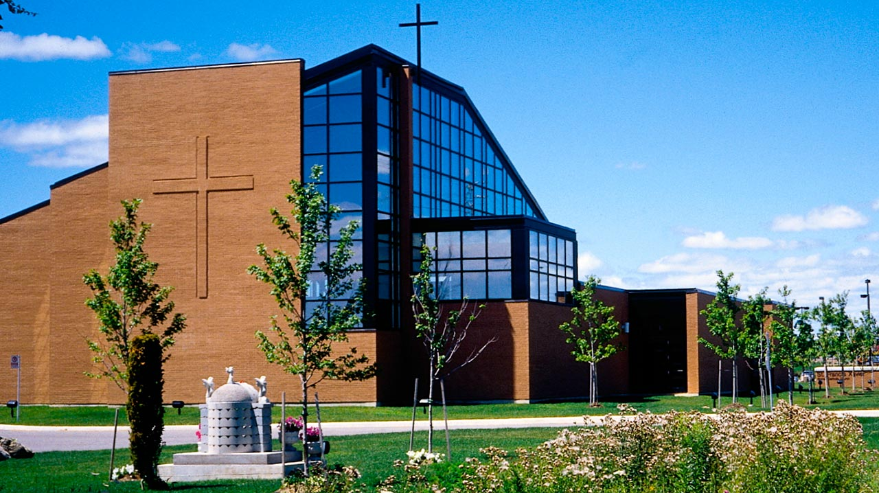 St. Francis Xavier Church & Parish, Mississauga   The project consists of an addition of a 475 square metre of offices and amenity space including a multi-purpose rooms and rectory.  Photo Courtesy of BNC Architects