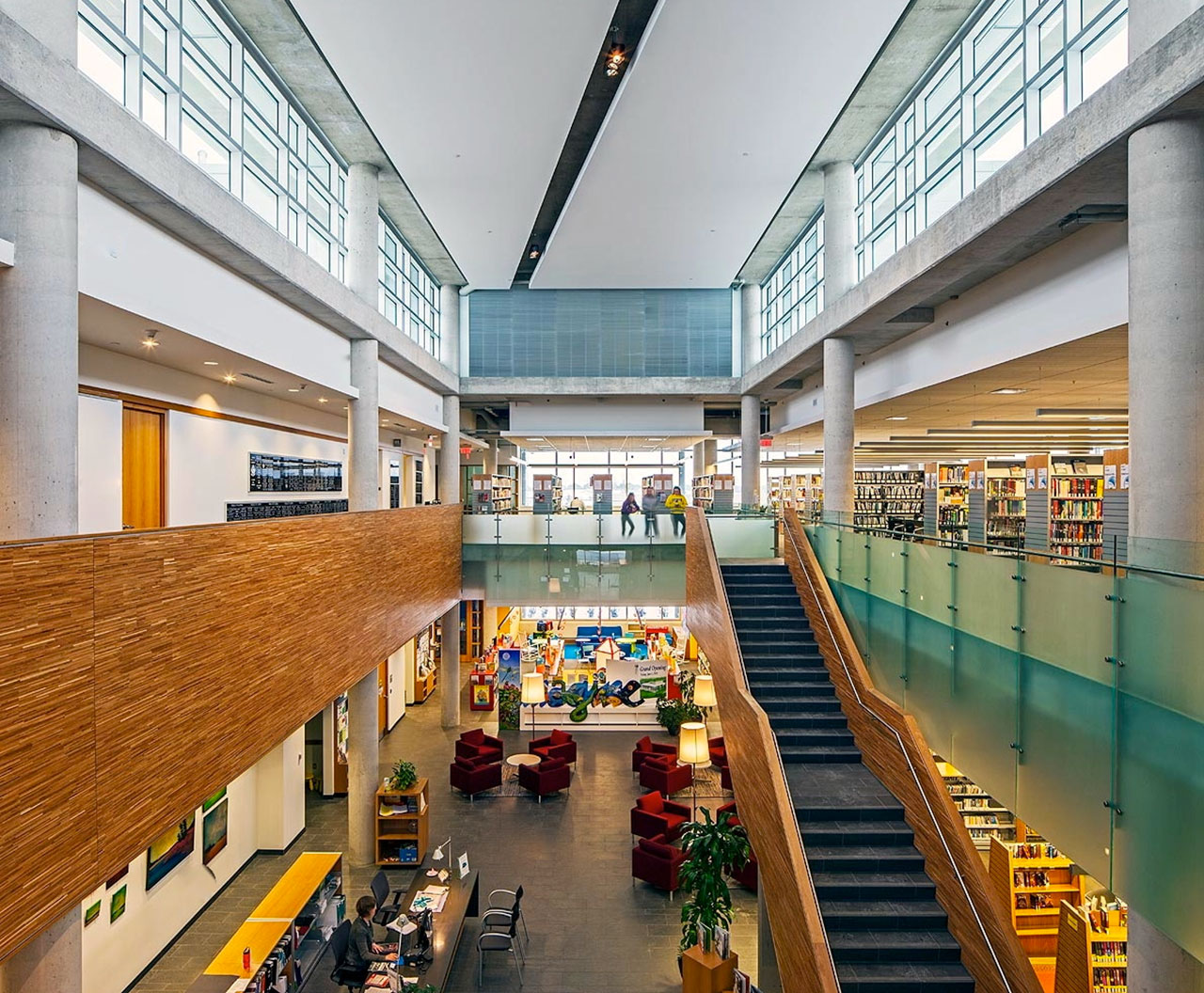 Bradford West Gwillimbury Library & Cultural Centre, Bradford   Bradford West Gwillimbury Library and Cultural Centre consists of a 40,000 square foot two-storey building. It is located on Holland Street West as part of the Bradford West Gwillimbury Civic Centre project.  (click for more)   Number of Storeys:   2 Size: 40,000 sq. ft.  Photos Courtesy of BNC Architects