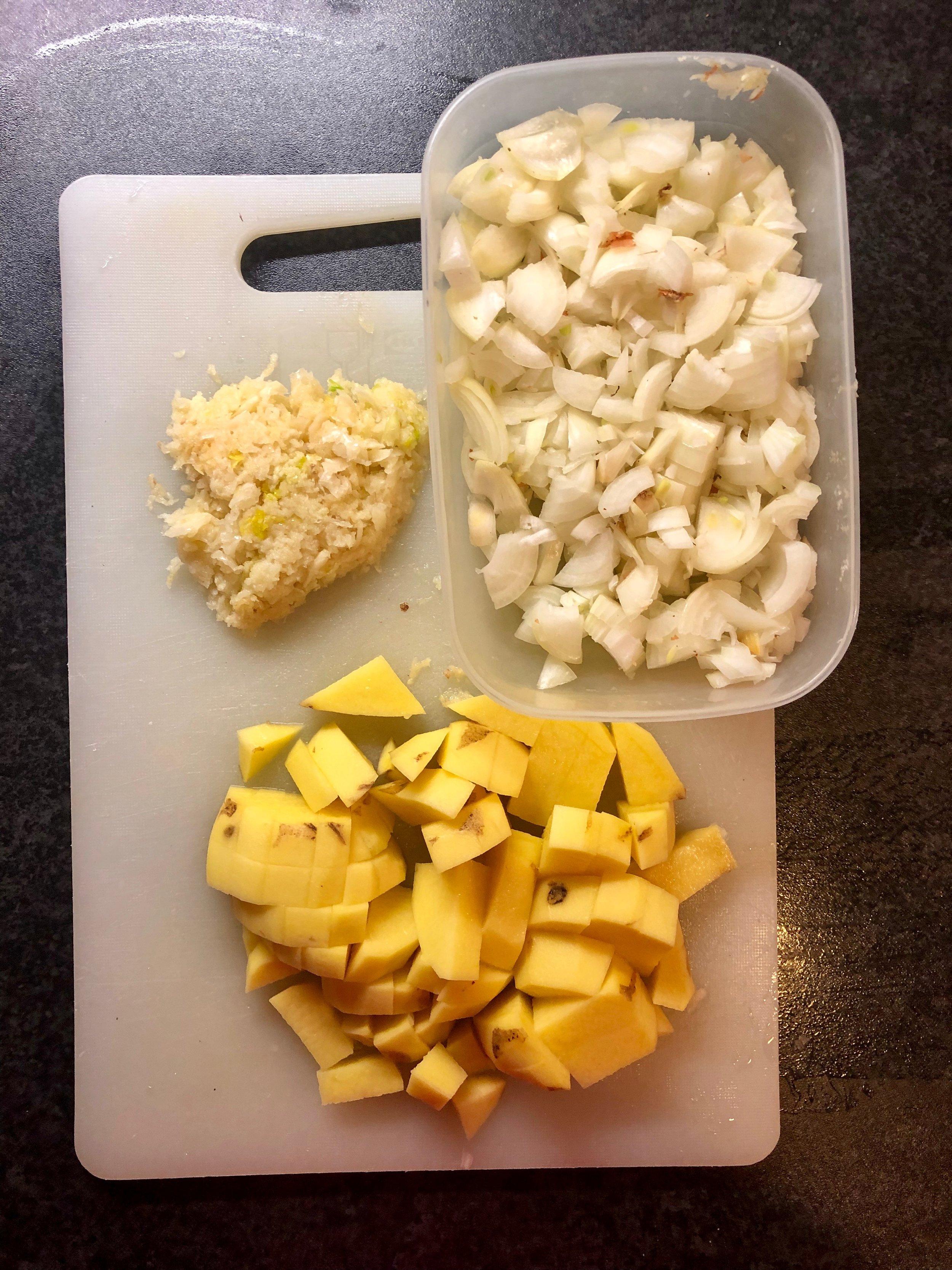 Mise en place for garlic soup.