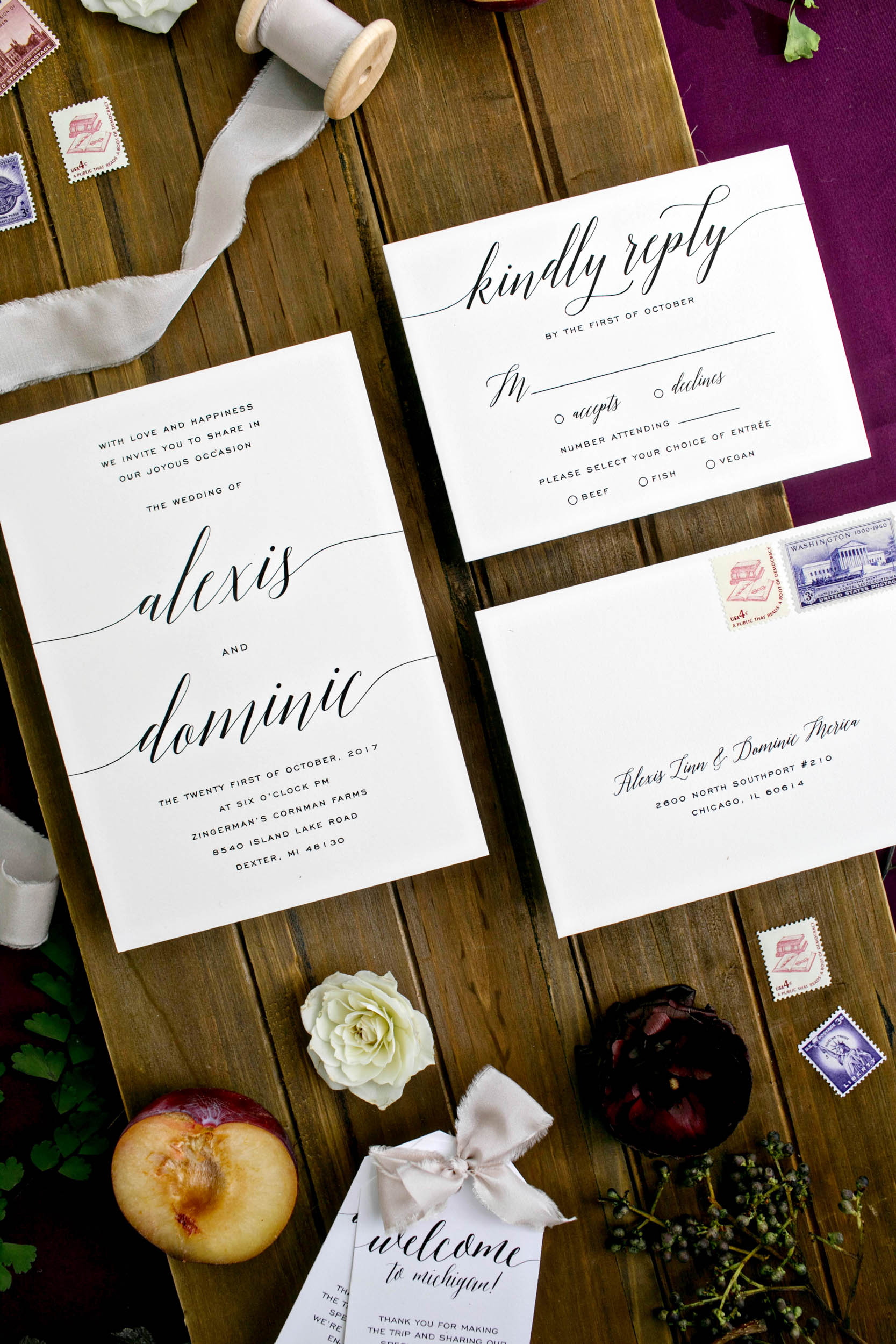 custom wedding planners ann arbor michigan event design paper goods florals invitation suite fall