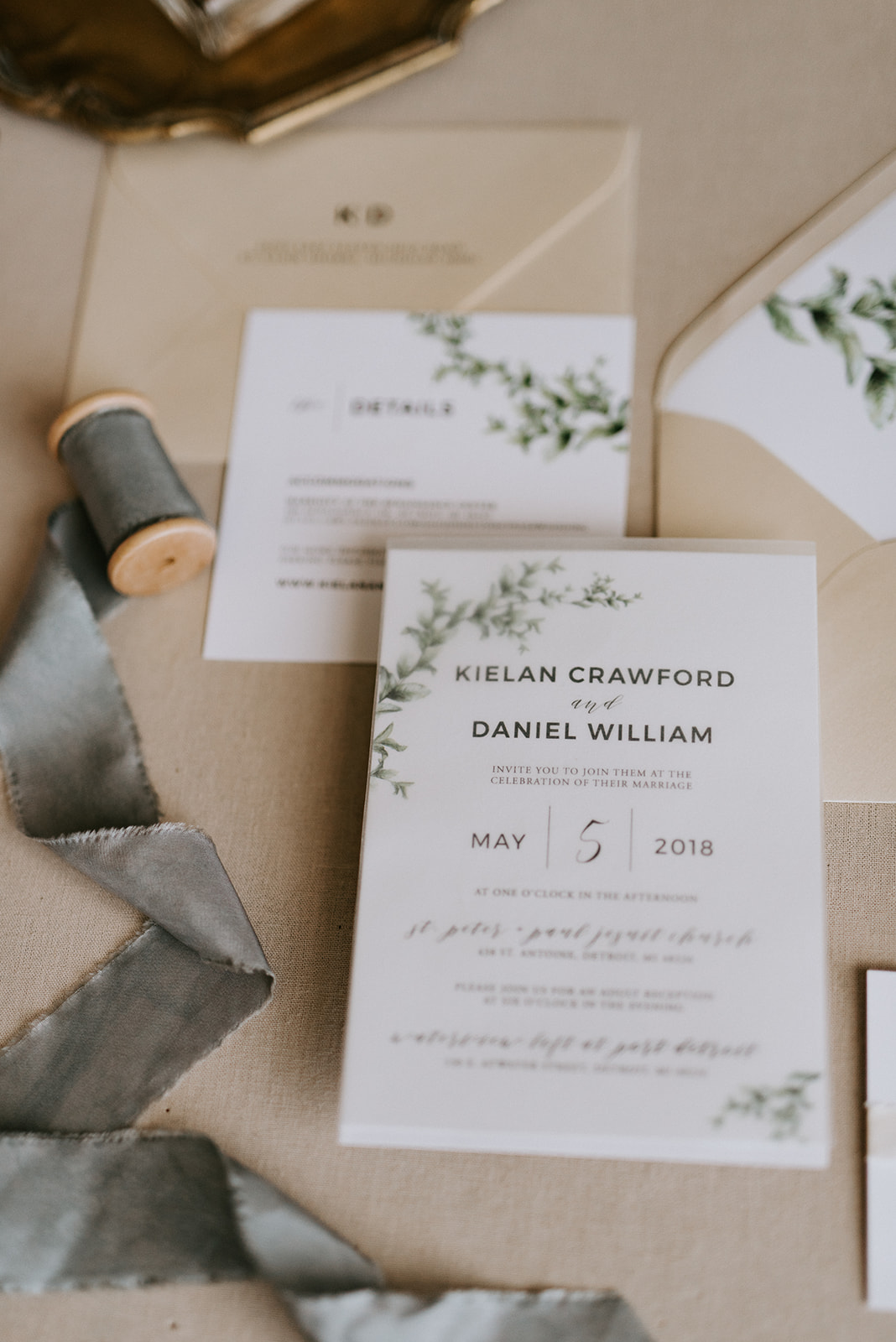 custom wedding planners detroit michigan event design paper goods florals neutral invitation suite