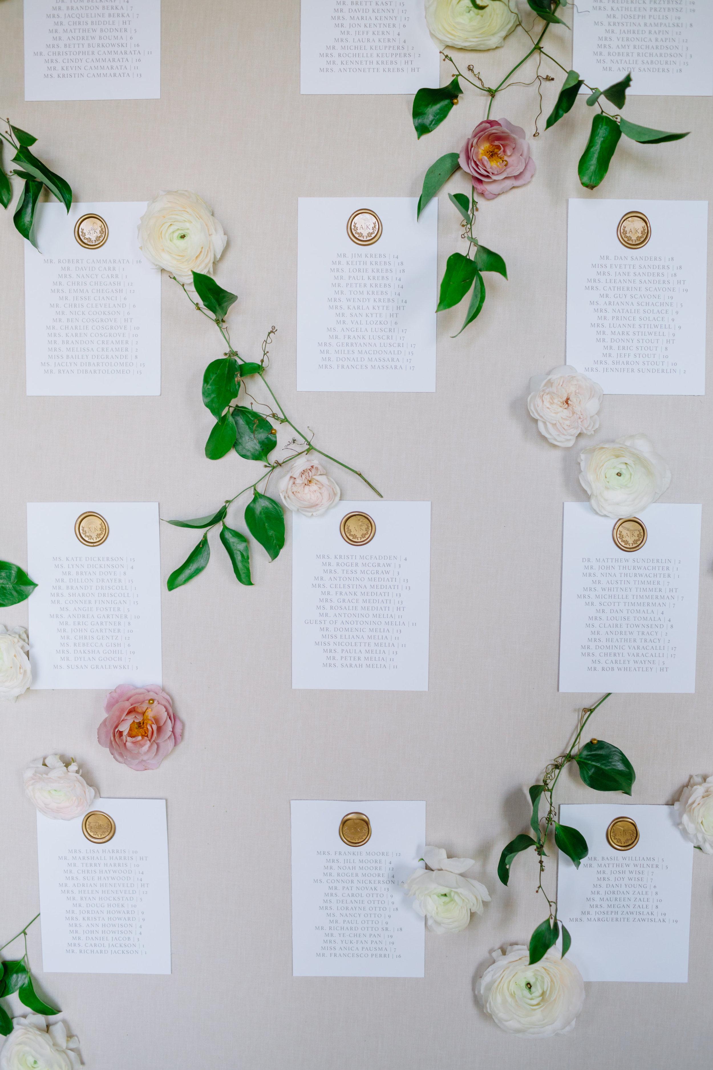 custom wedding planners michigan event design paper goods florals escort card wall