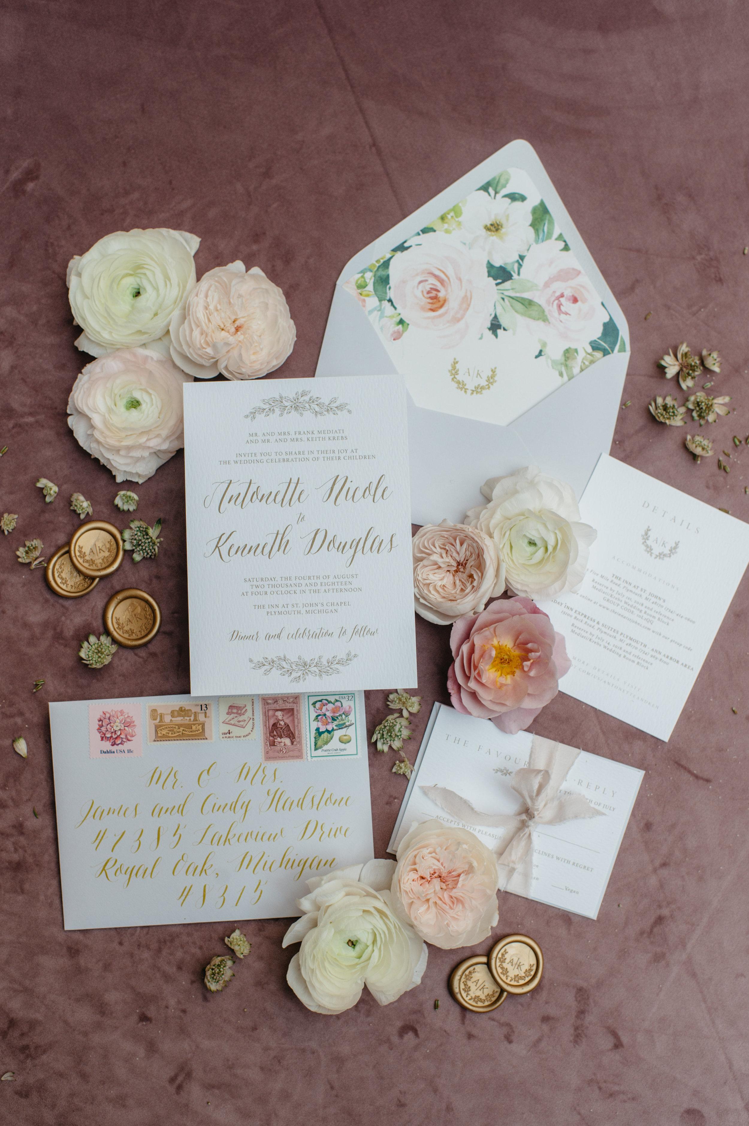 custom wedding planners michigan event design paper goods florals invitation suite invites
