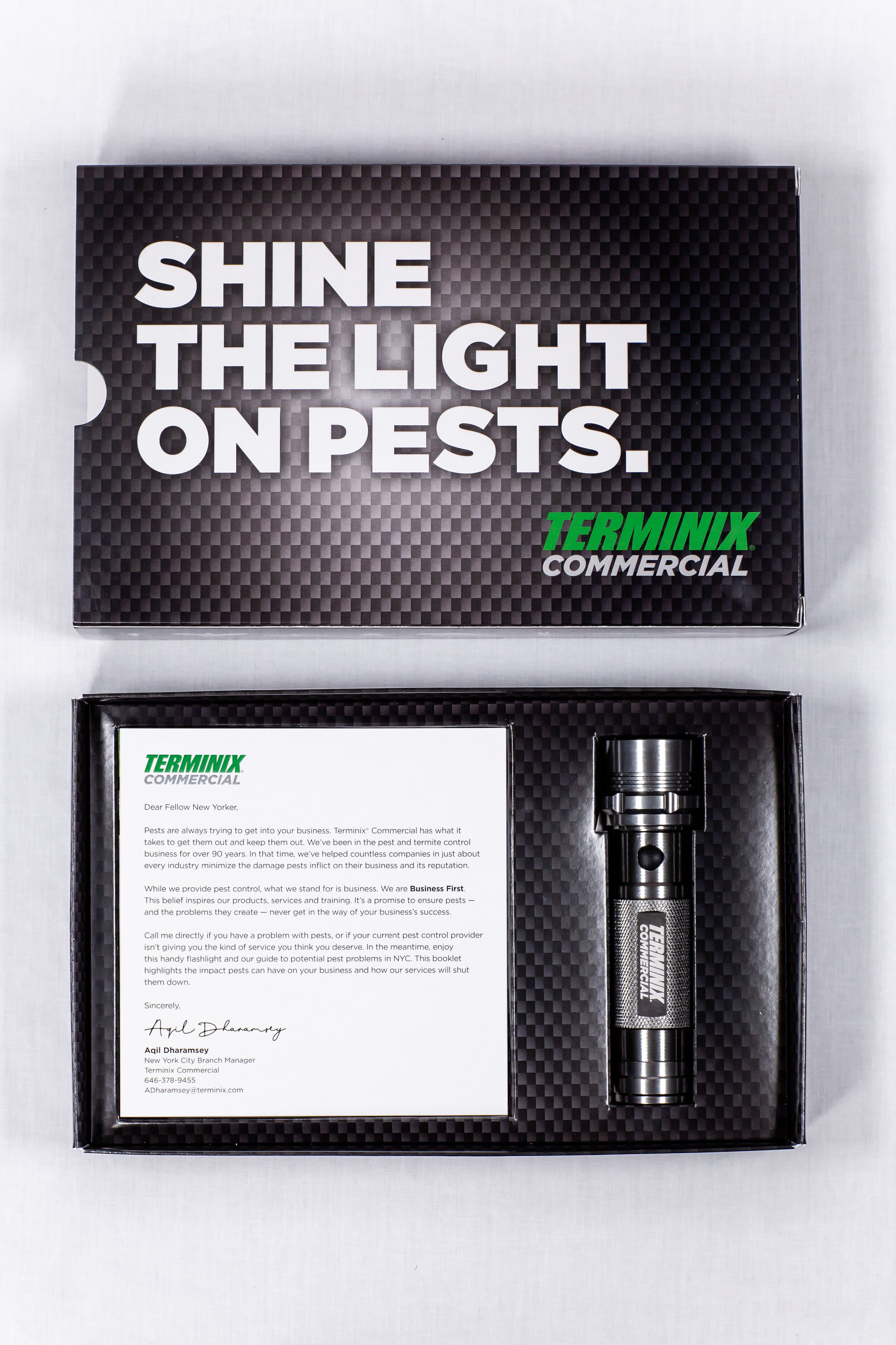 Terminix Commercial Direct Mail - There are a lot of businesses in New York. Obviously. Living in and around them are a lot of pests. We created this direct mail piece for Terminix Commercial to help business owners understand the threat that pests pose to their business. We provided a handy flashlight for them to shine a light on the pests in and around their business, as well as an easy to read brochure targeting New York specifically.