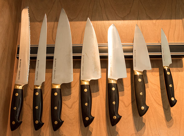 Zwilling J.A. Henckels company was founded in 1731 in Solingen, Germany. Their Kramer line of high-carbon steel knives were licensed by Master Bladesmith Bob Kramer of Olympia, Washington, to be handcrafted in Japan by Zwilling J.A. Henckels. Bob Kramer is one of the few Master Bladesmiths in the world specializing in kitchen cutlery. These knives are made by artisans in Seki City, Japan, the capital of Japanese knife-making since the 13th century.