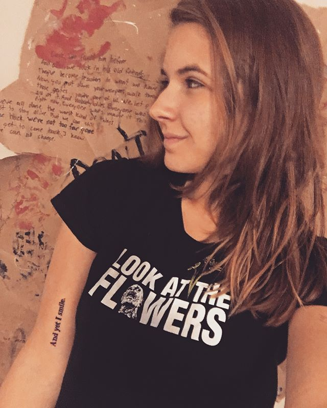 And yet I smile. Tattoo by @gregopeyton #walkingdead #walkingdeadtattoo #walkingdeadquotes #jss #tattoo #lookattheflowers #andyetismile #kharypayton #kingezekiel @kharypayton