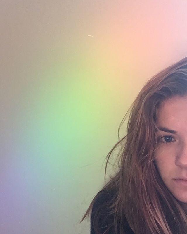 Thankful for the rainbows on my wall. #sleepyselfies #mysteriousrainbows #maddiethevampire