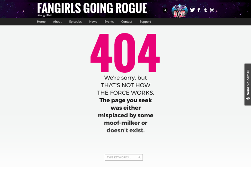 Custom 404 Page - Fandom Podcast Website