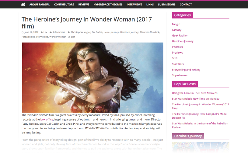Article Post Page - Fandom Storytelling Website