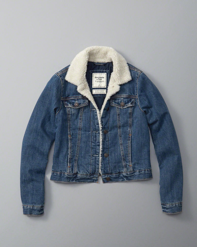Abercrombie & Fitch Sherpa Denim Trucker Jacket