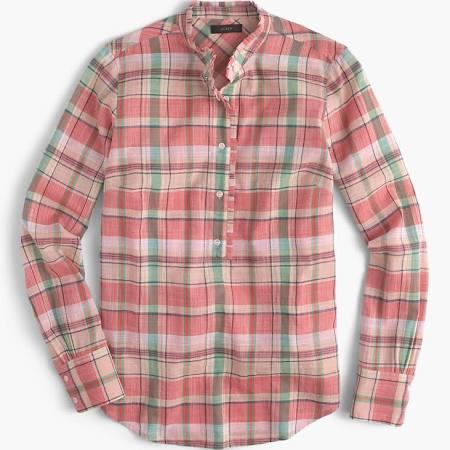 J.Crew Ruffle popover shirt in melon plaid