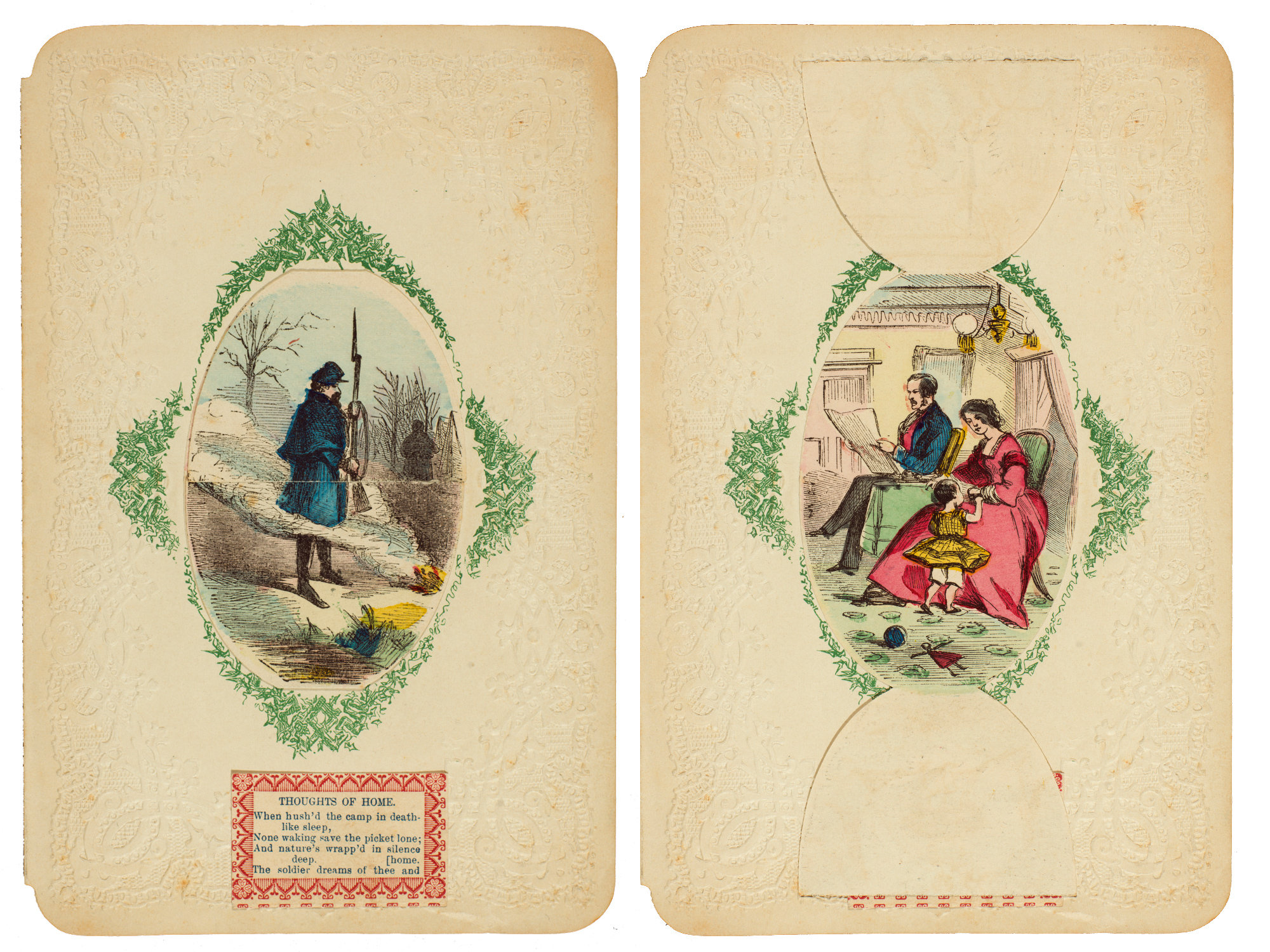 """Another fold-open card from the Civil War era: """"Thoughts of Home."""""""