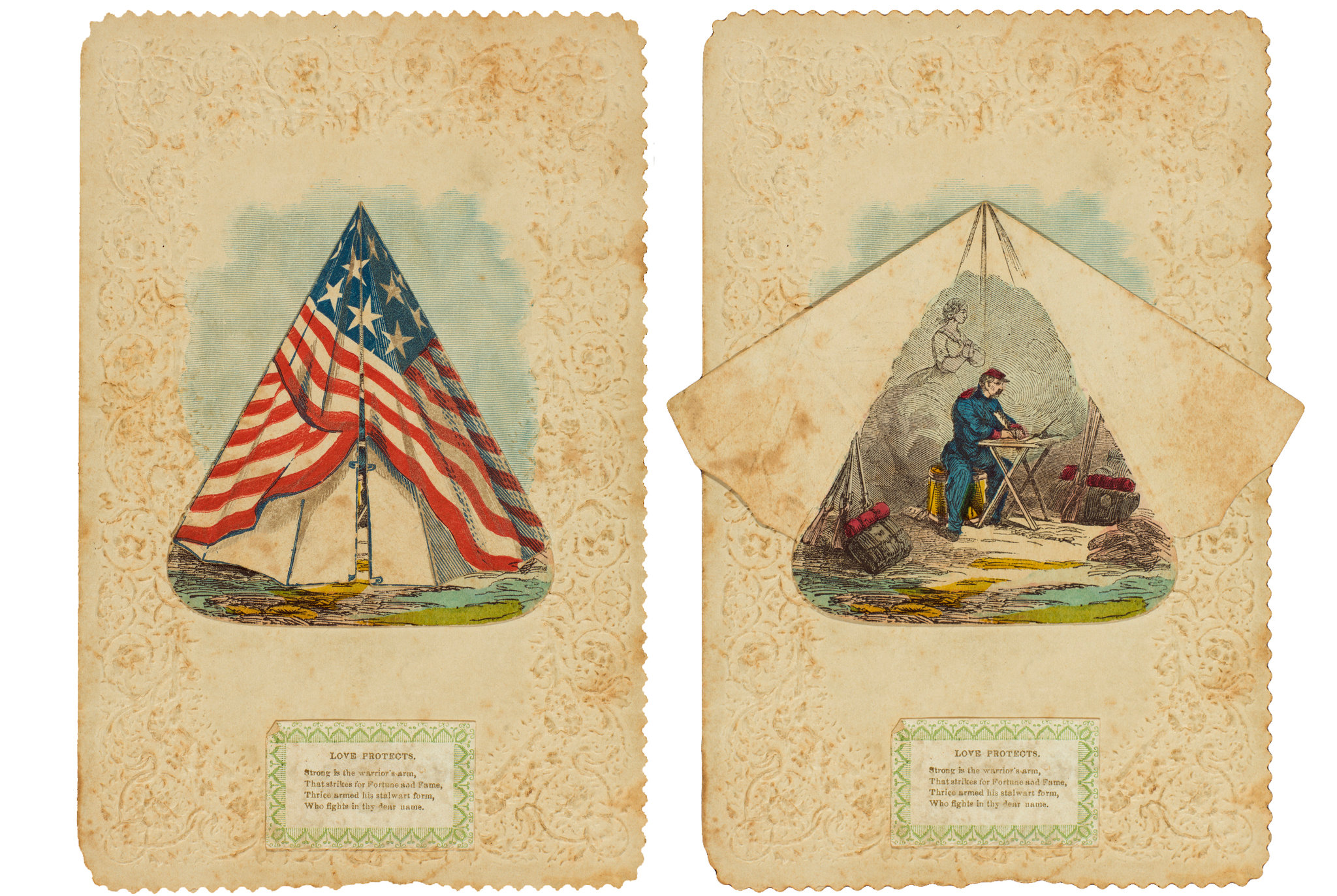 A Civil War Valentine dated Feb. 14, 1863. The tent's flaps open to reveal a soldier composing a love letter while envisioning his beloved.